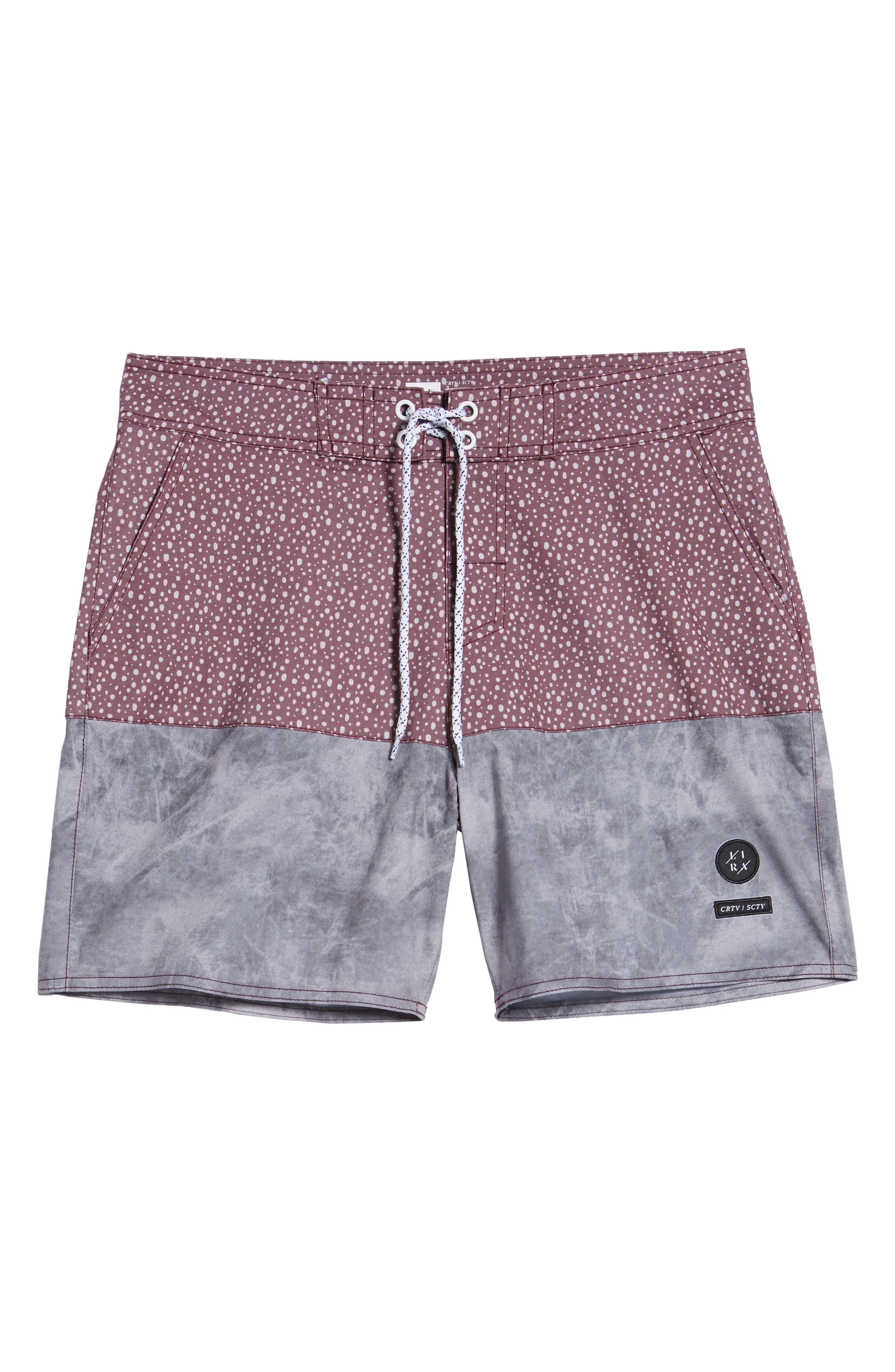 Dotted Swim Shorts,                             Alternate thumbnail 6, color,                             Rust