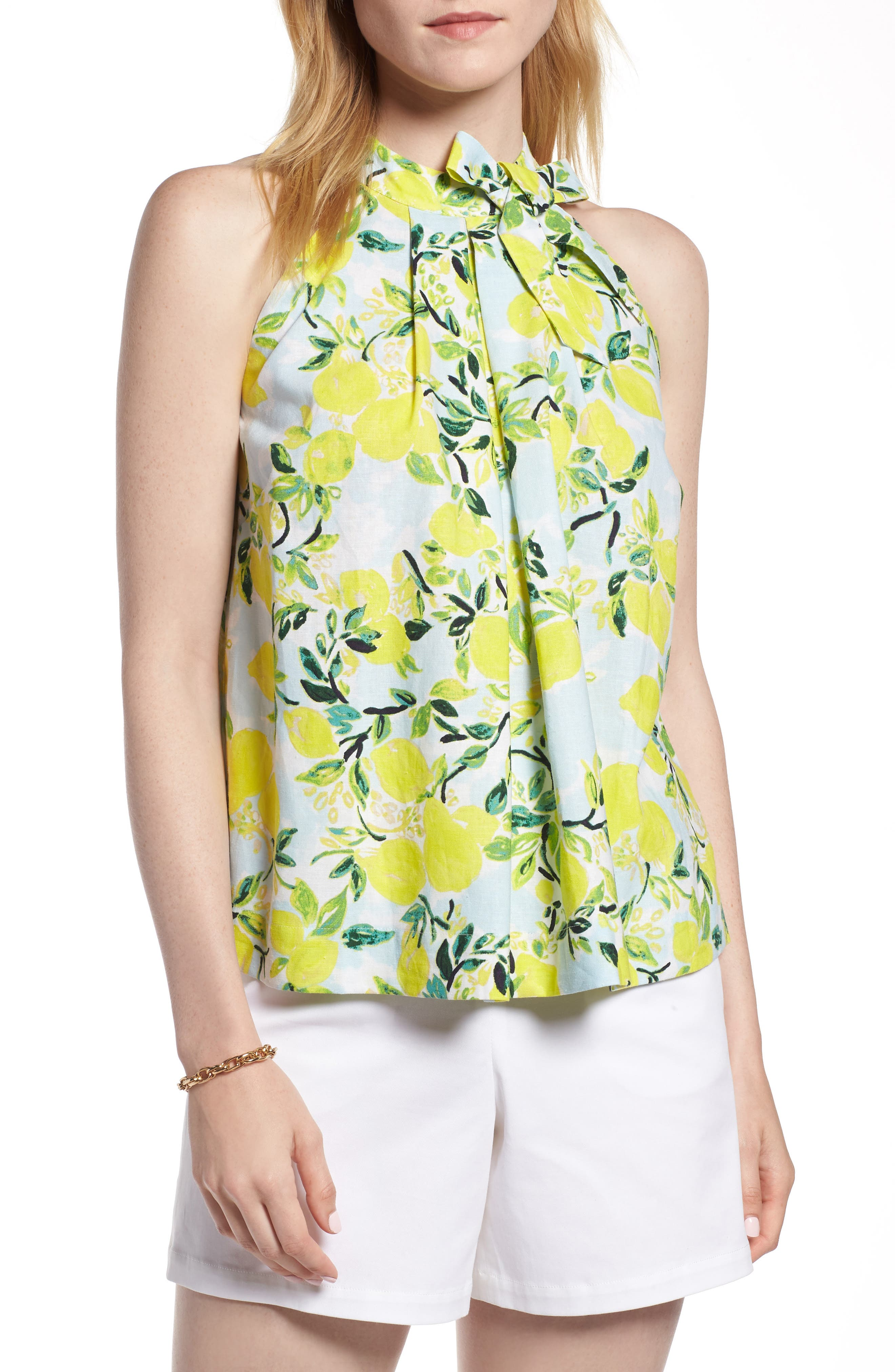 Tie Neck Linen Blend Top,                         Main,                         color, Blue- Yellow Citrus Print