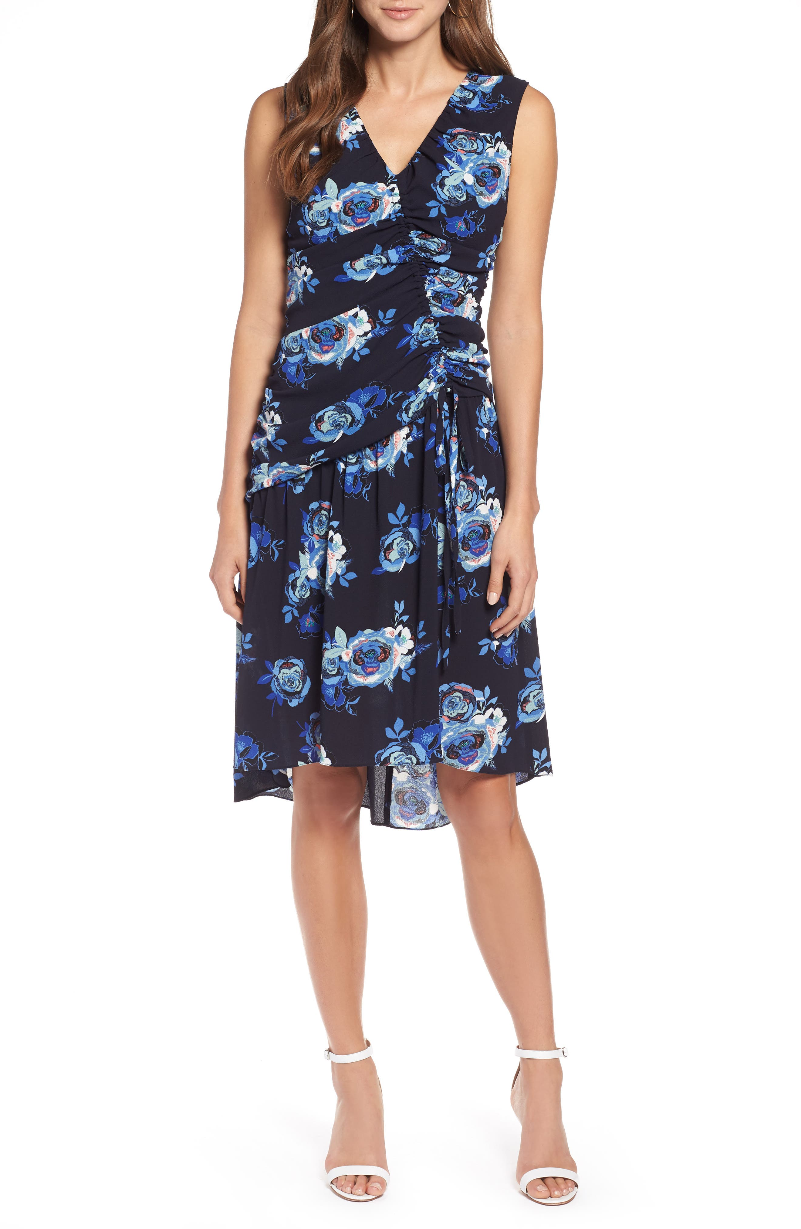 Sleeveless Ruched Dress,                         Main,                         color, Navy- Blue Rose Print
