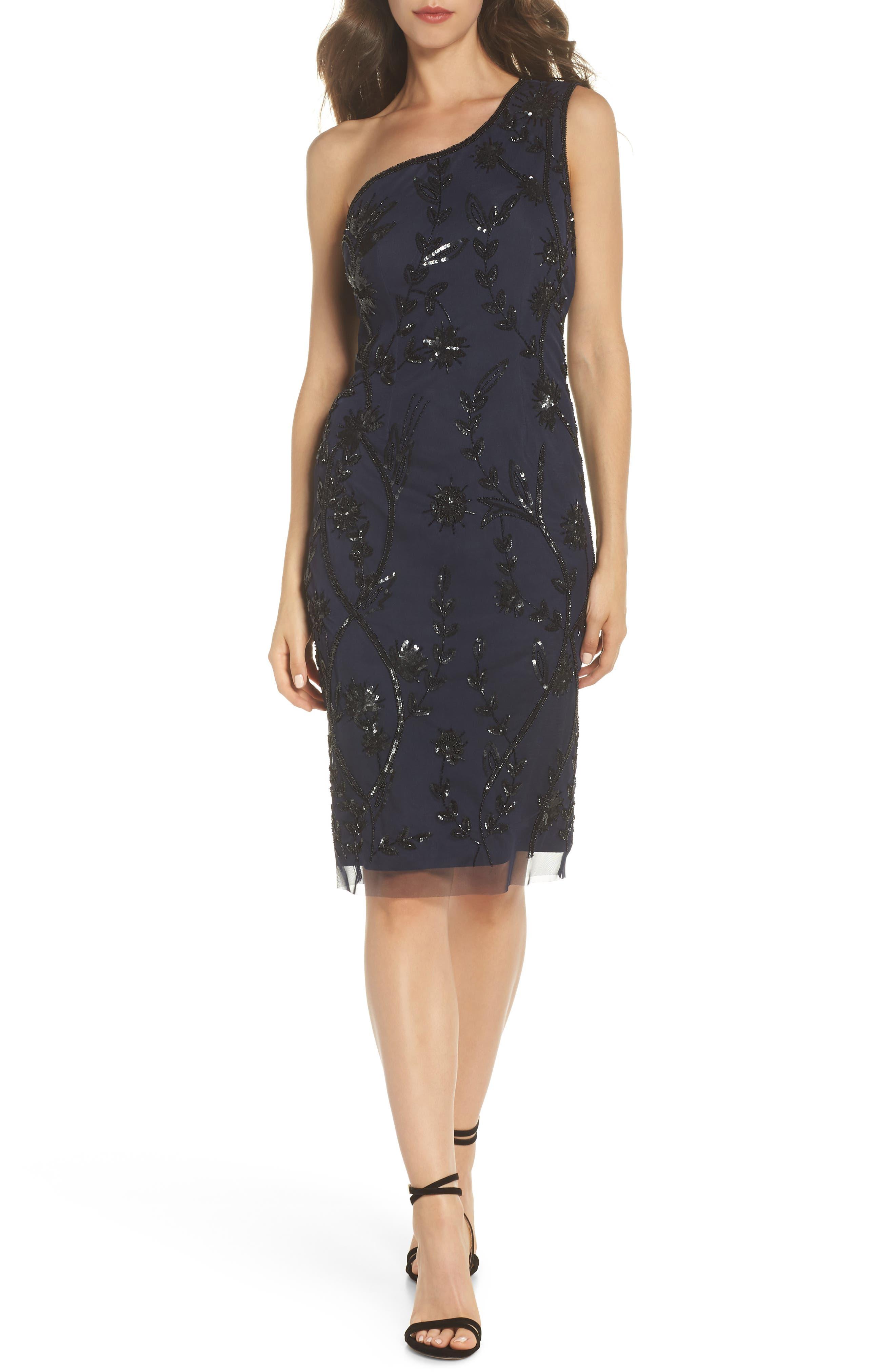 Beaded Sheath Dress,                             Main thumbnail 1, color,                             Navy/ Black