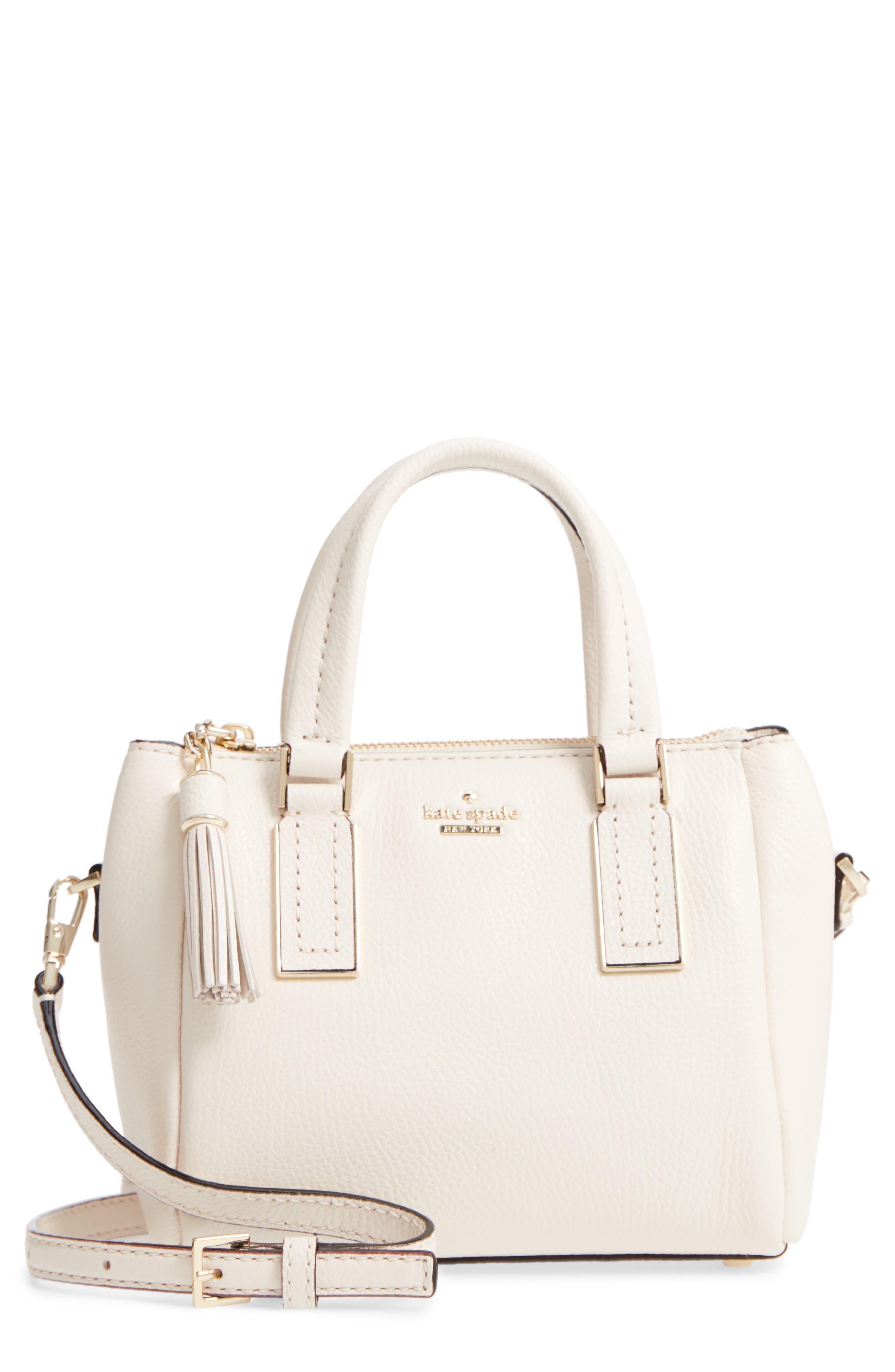 kingston drive - mini alena leather satchel,                         Main,                         color, Bleach Bone
