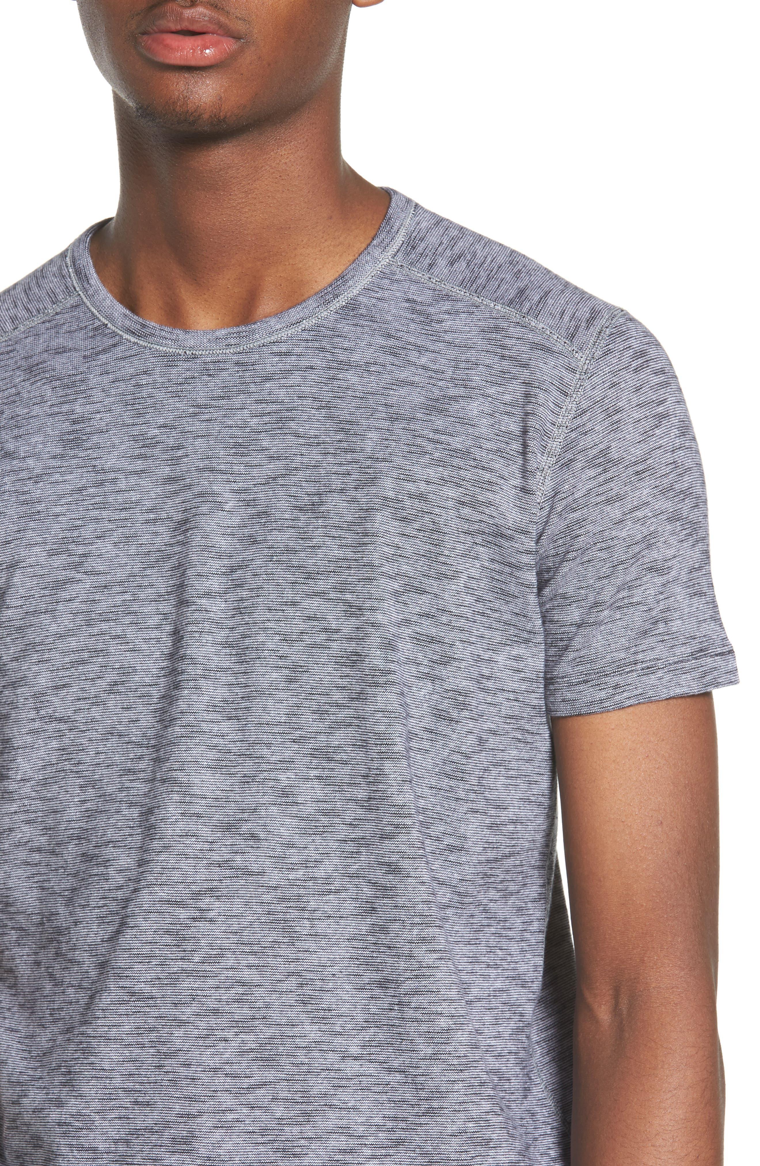 Ribbed Slub Cotton T-Shirt,                             Alternate thumbnail 4, color,                             Feeder Stripe Grey