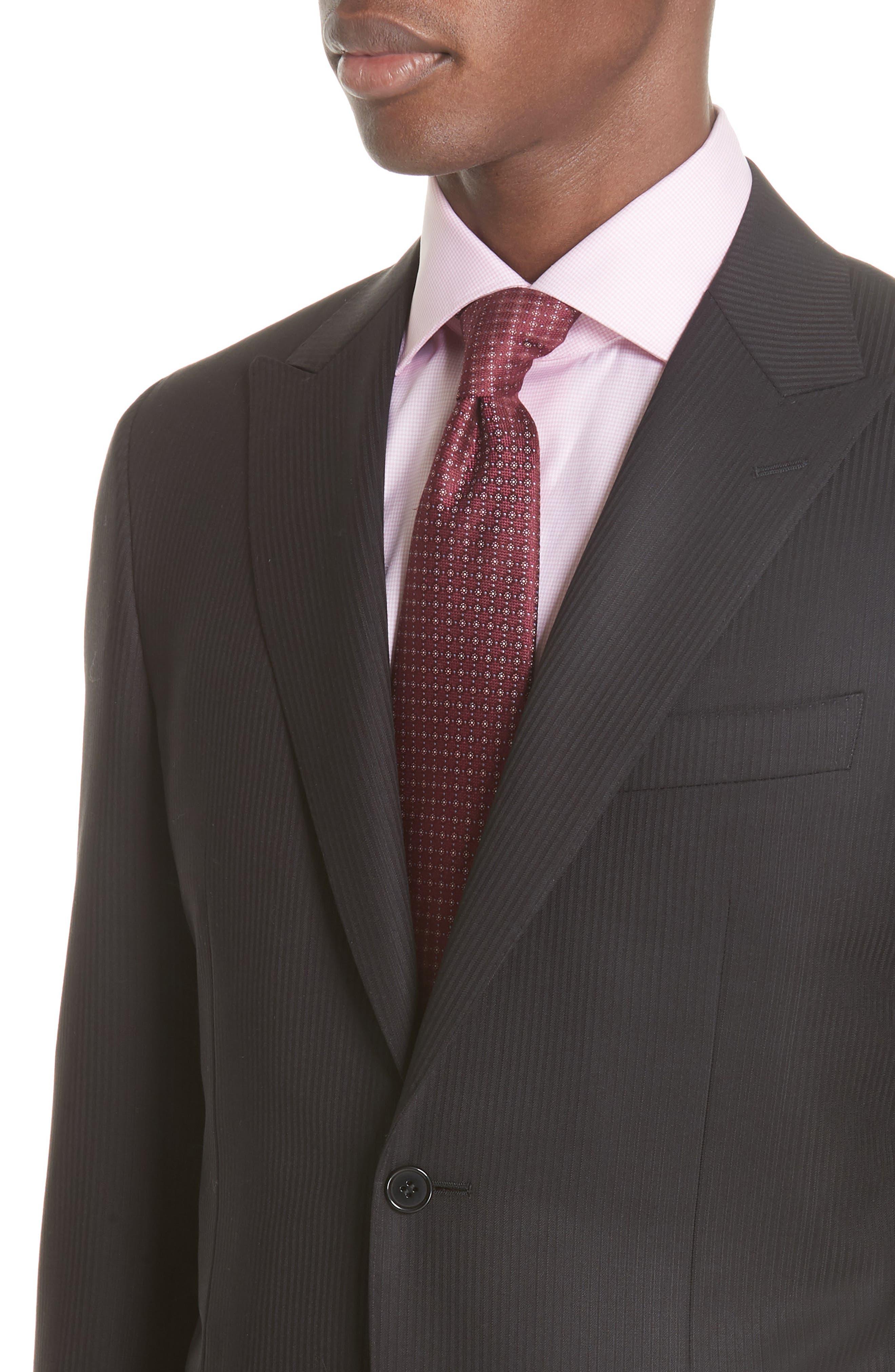 Siena Classic Fit Stripe Wool Suit,                             Alternate thumbnail 4, color,                             Black