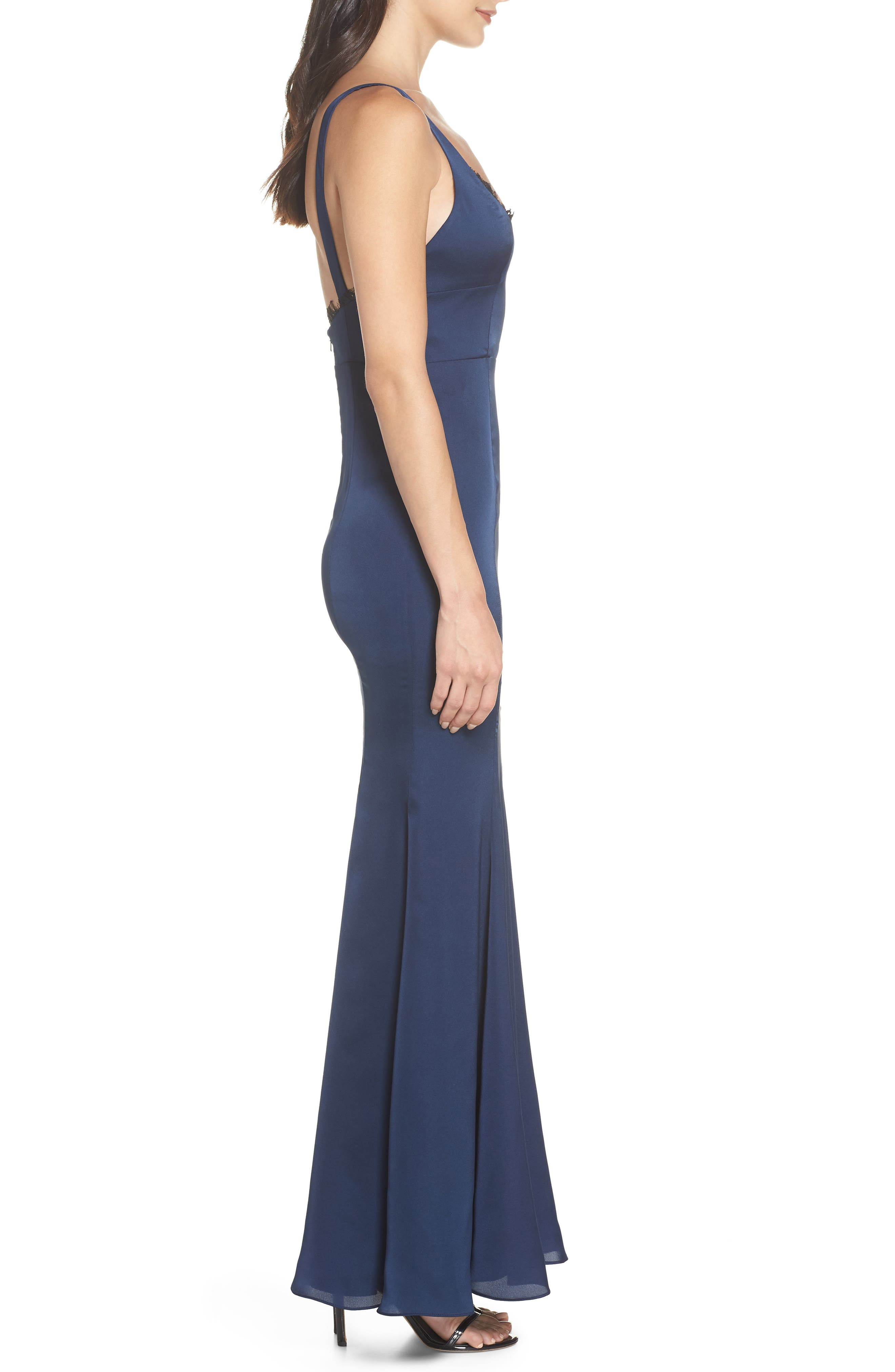 The Ara Trumpet Gown,                             Alternate thumbnail 3, color,                             Navy