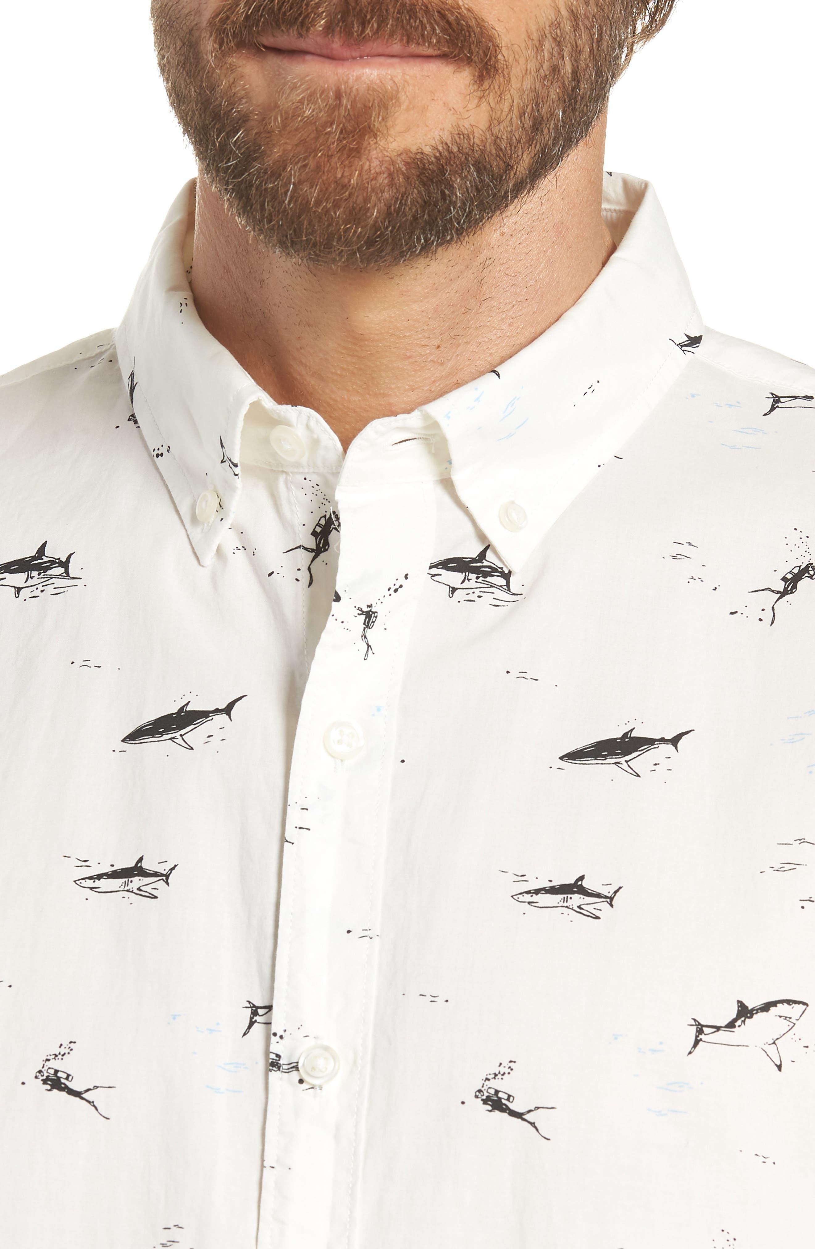 Riviera Slim Fit Shark Print Sport Shirt,                             Alternate thumbnail 2, color,                             Scuba Dive - Jet Black