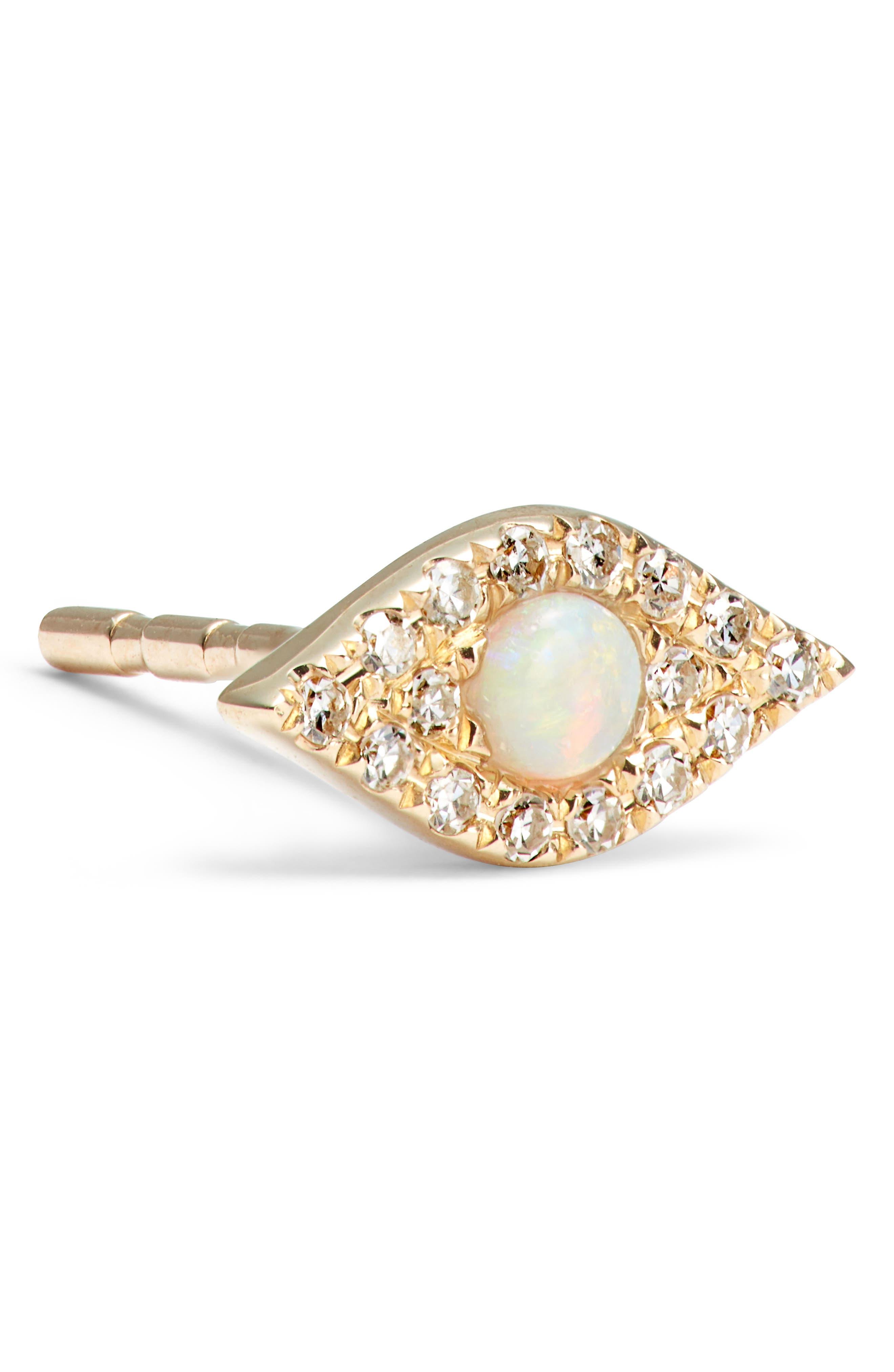 Evil Eye Diamond & Opal Stud Earrings,                             Alternate thumbnail 5, color,                             Yellow Gold/ Opal