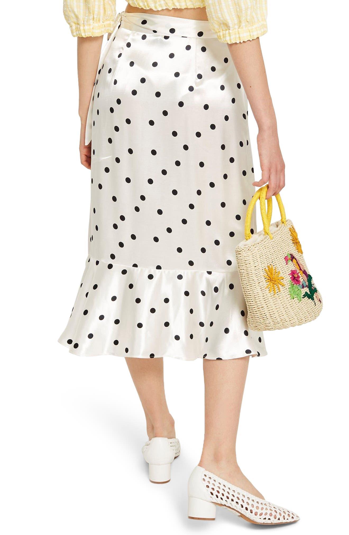 Satin Spot Ruffle Skirt,                             Alternate thumbnail 2, color,                             White Multi