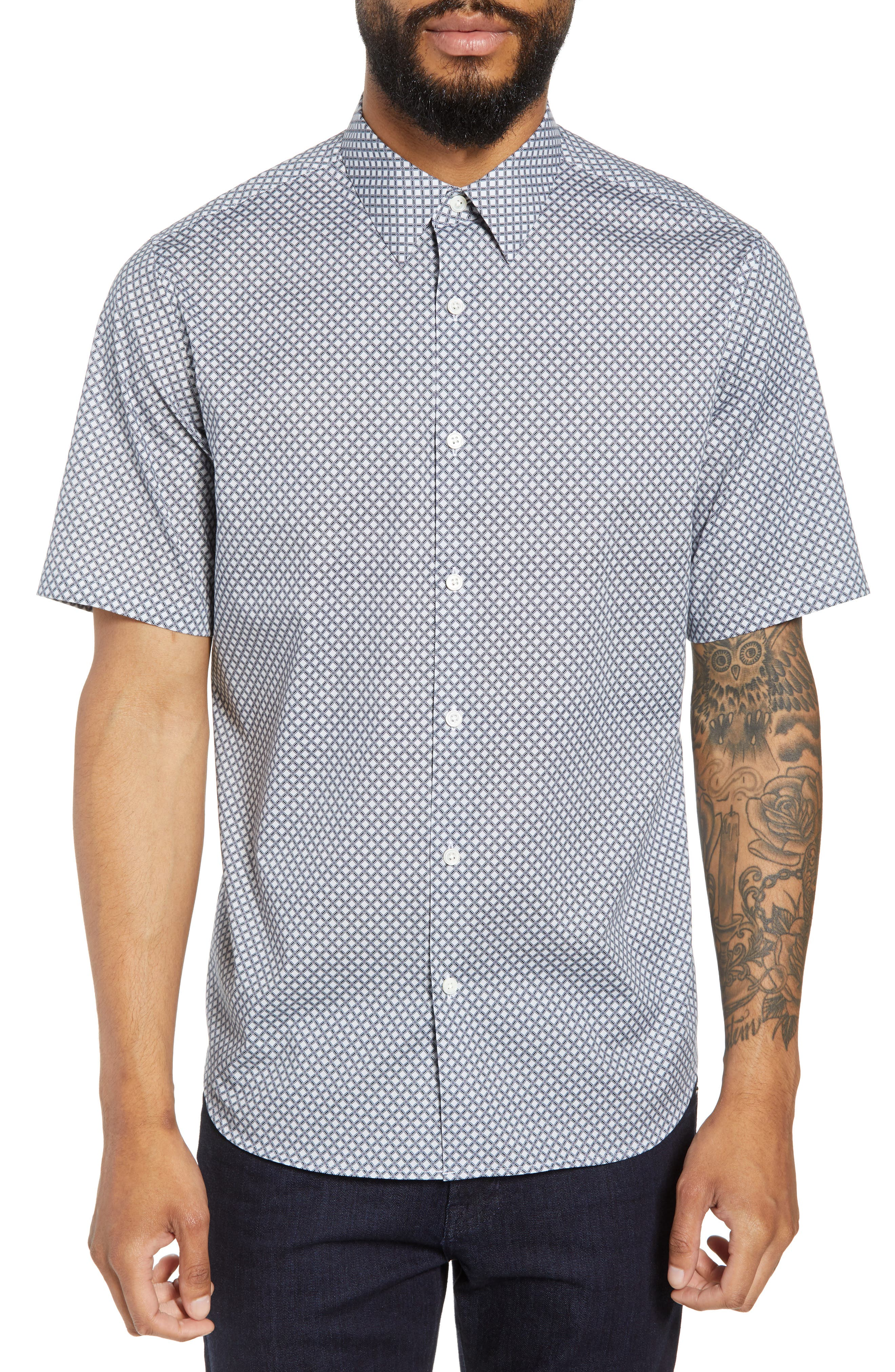 Menlo Halldale Slim Fit Stretch Short Sleeve Sport Shirt,                         Main,                         color, Shale Multi