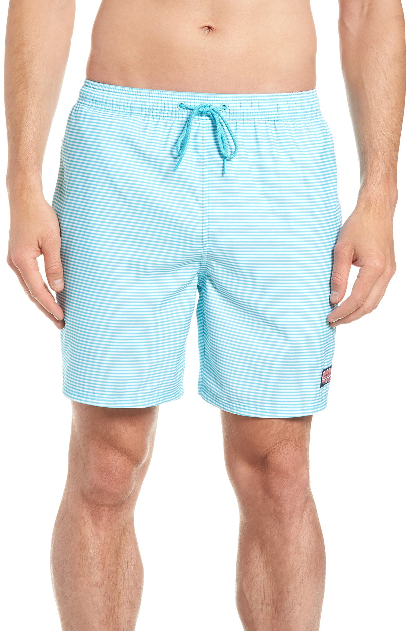 Chappy Stripe Swim Trunks,                             Main thumbnail 1, color,                             Turquoise