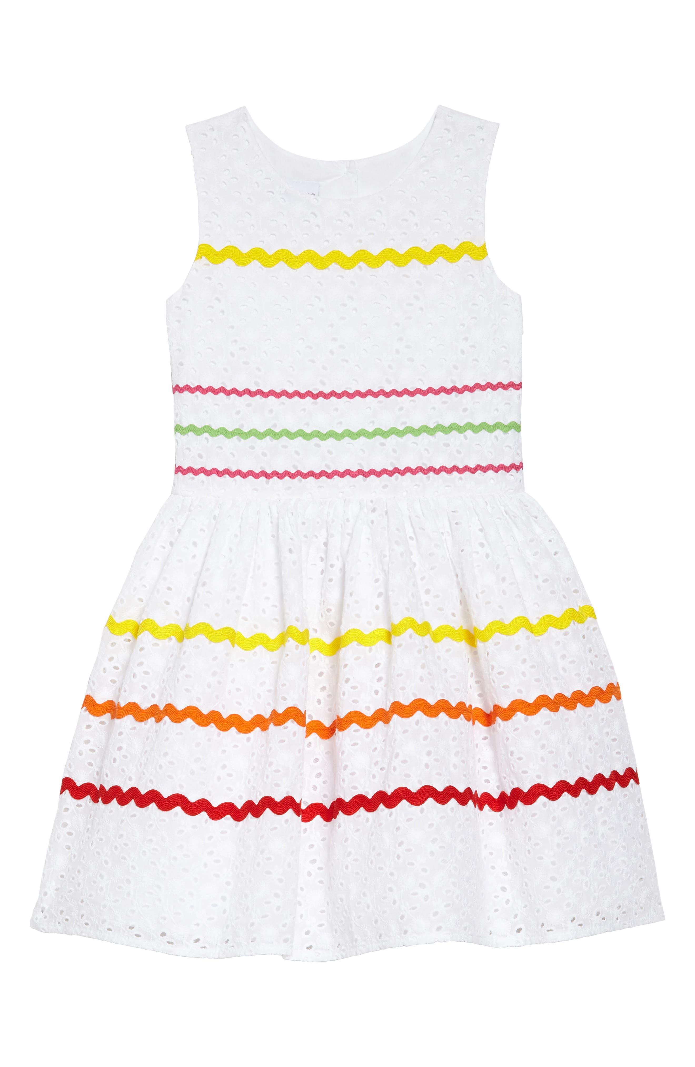 Rickrack Stripe Eyelet Dress,                             Main thumbnail 1, color,                             White