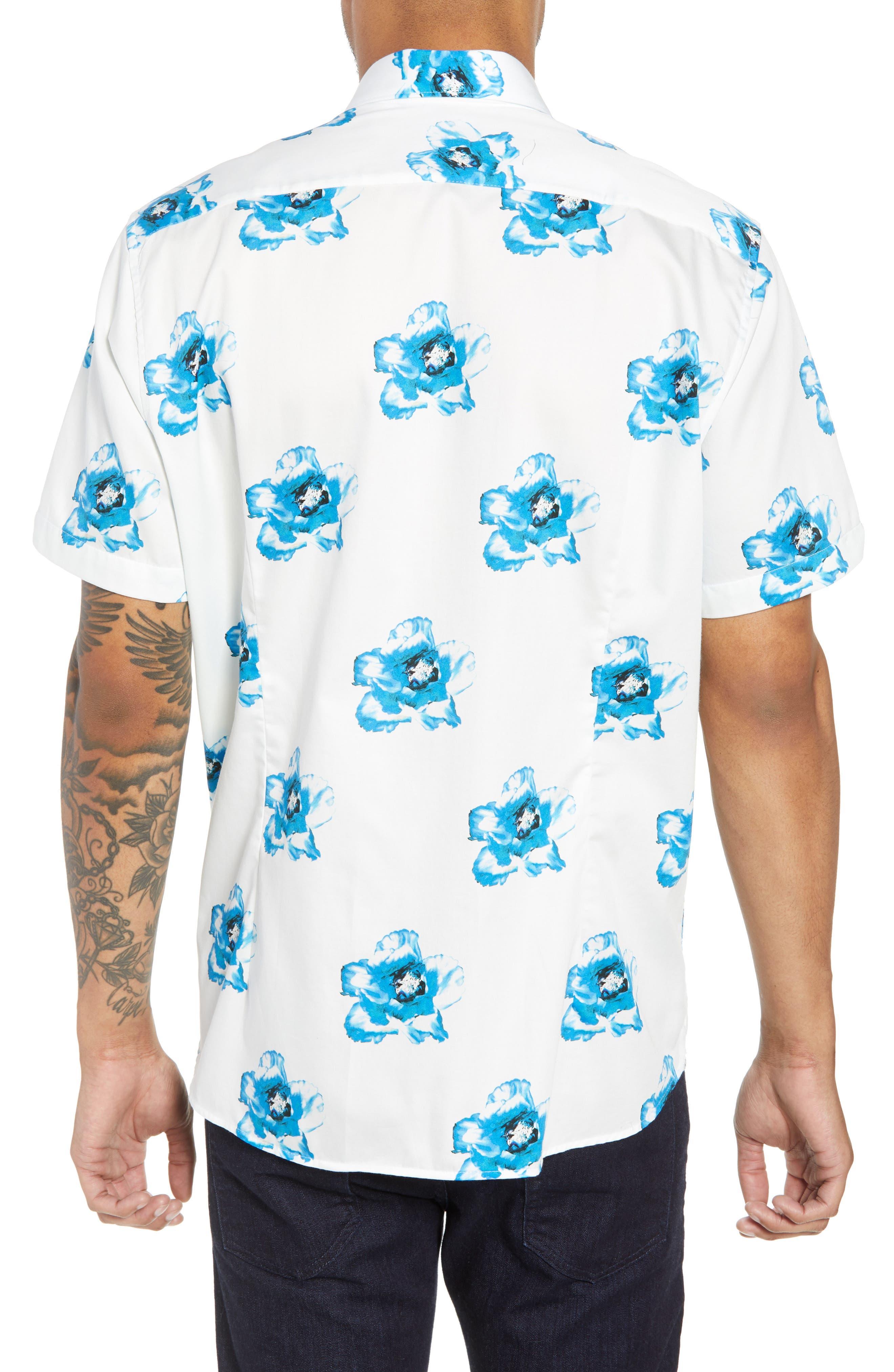 Silky Trim Fit Short Sleeve Sport Shirt,                             Alternate thumbnail 3, color,                             White