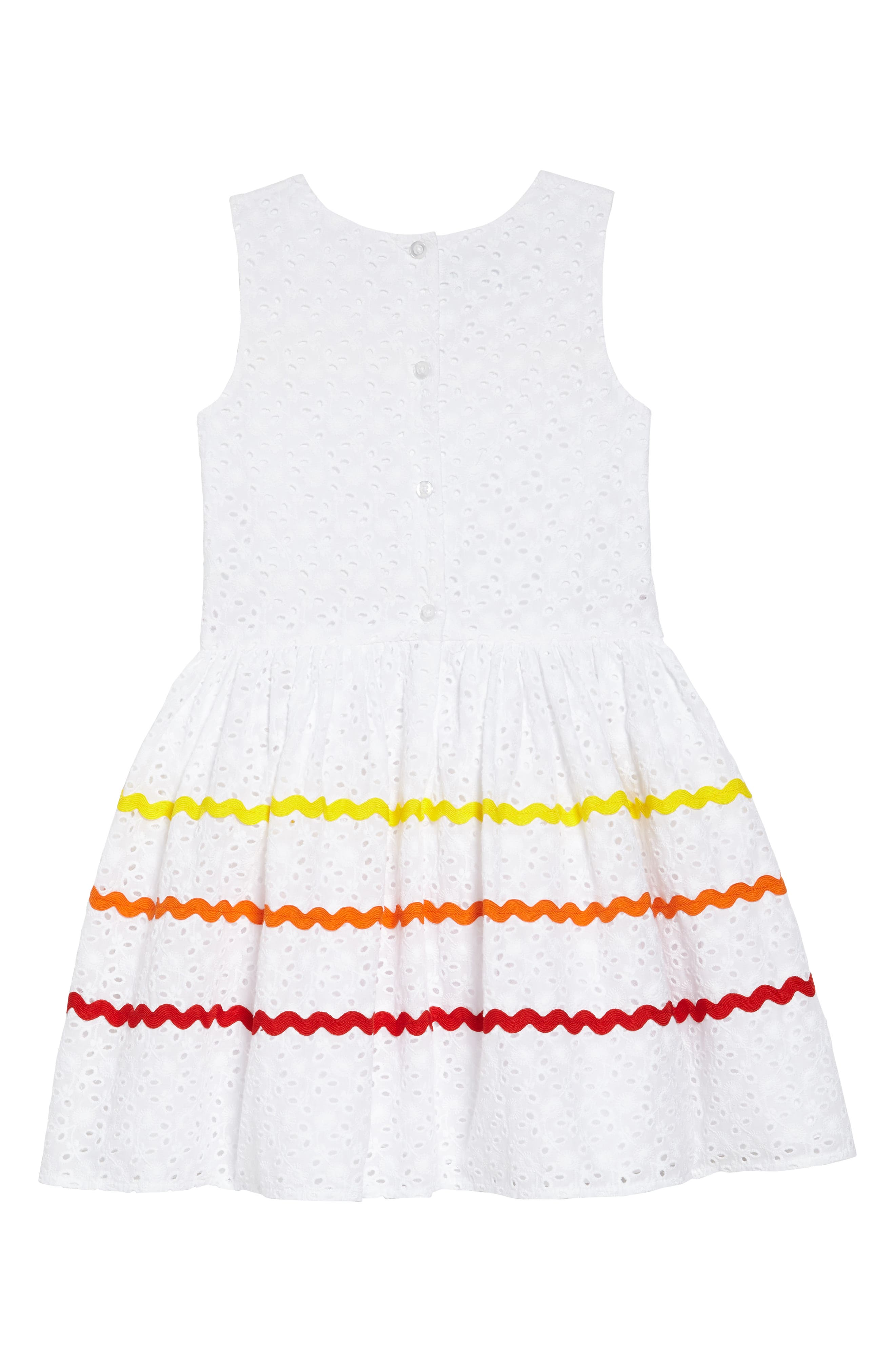 Rickrack Stripe Eyelet Dress,                             Alternate thumbnail 2, color,                             White