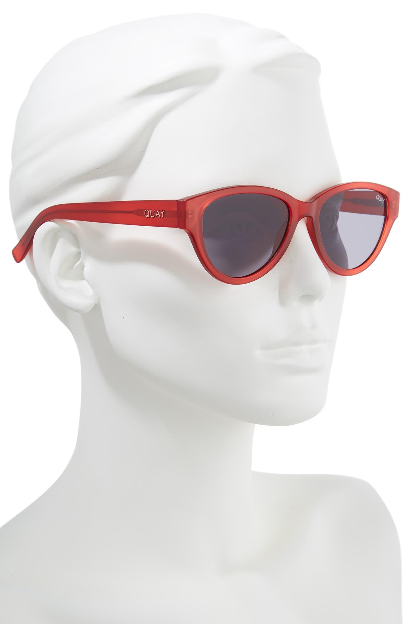 Rizzo 55mm Cat Eye Sunglasses,                             Alternate thumbnail 3, color,                             Red/ Smoke
