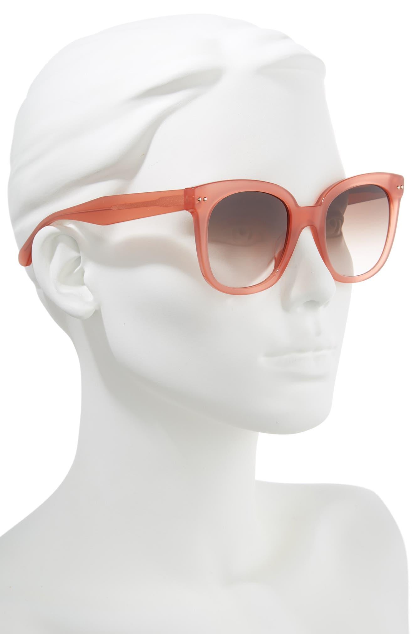 atalias 52mm square sunglasses,                             Alternate thumbnail 2, color,                             Peach