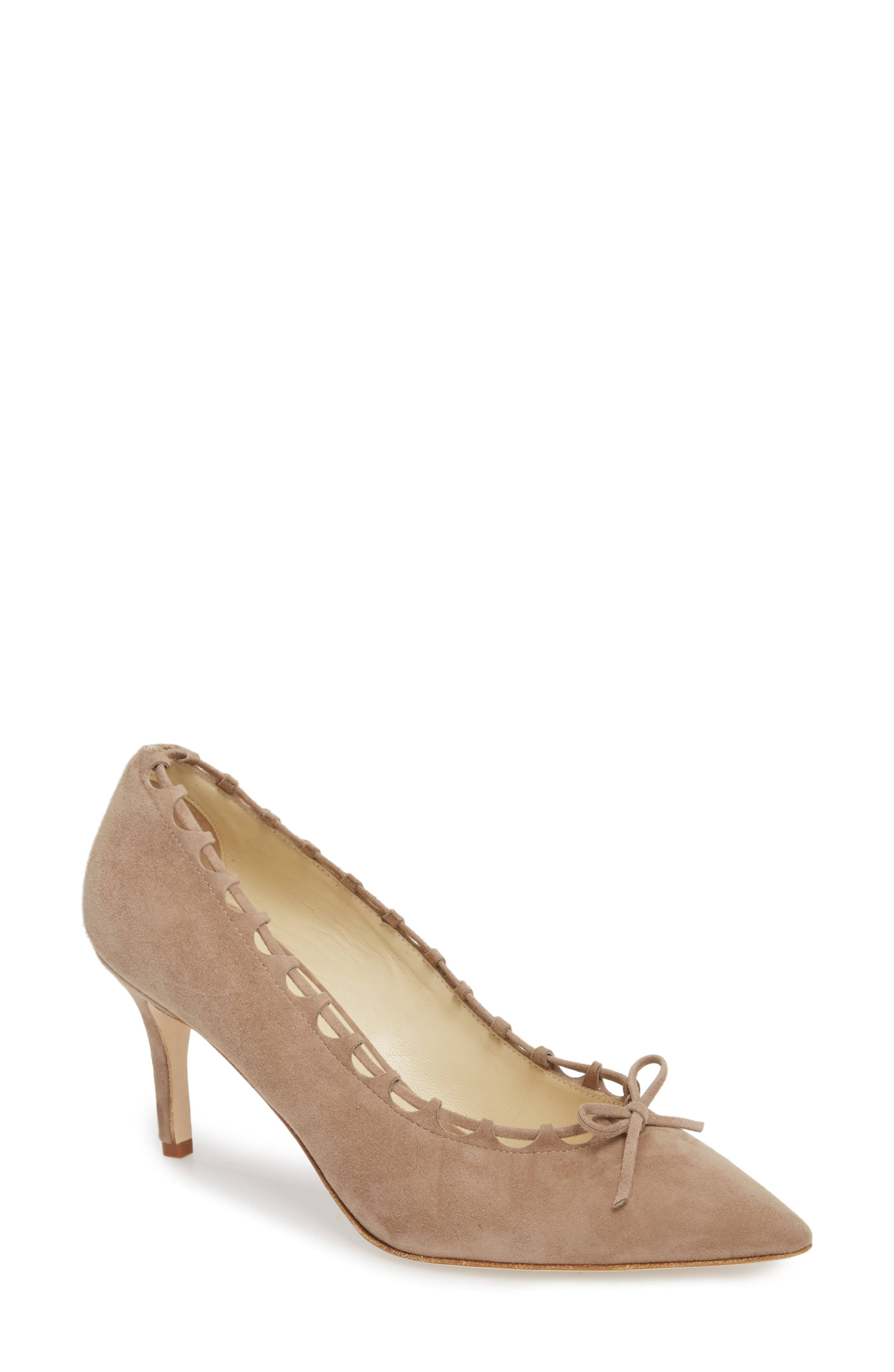 Butter Eris Pointy Toe Pump,                             Main thumbnail 1, color,                             Taupe Suede