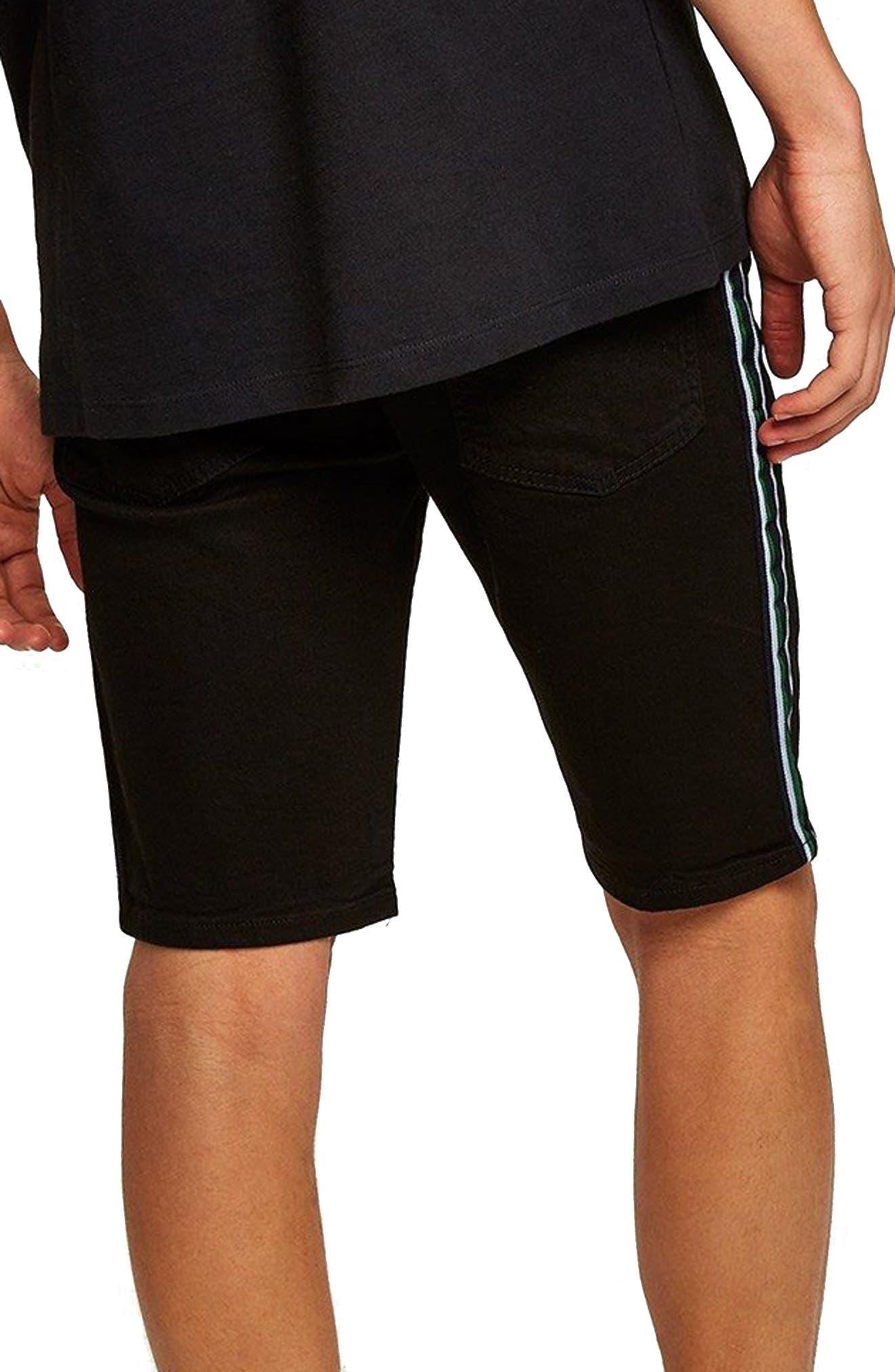 Tape Stretch Skinny Fit Denim Shorts,                             Alternate thumbnail 2, color,                             Black