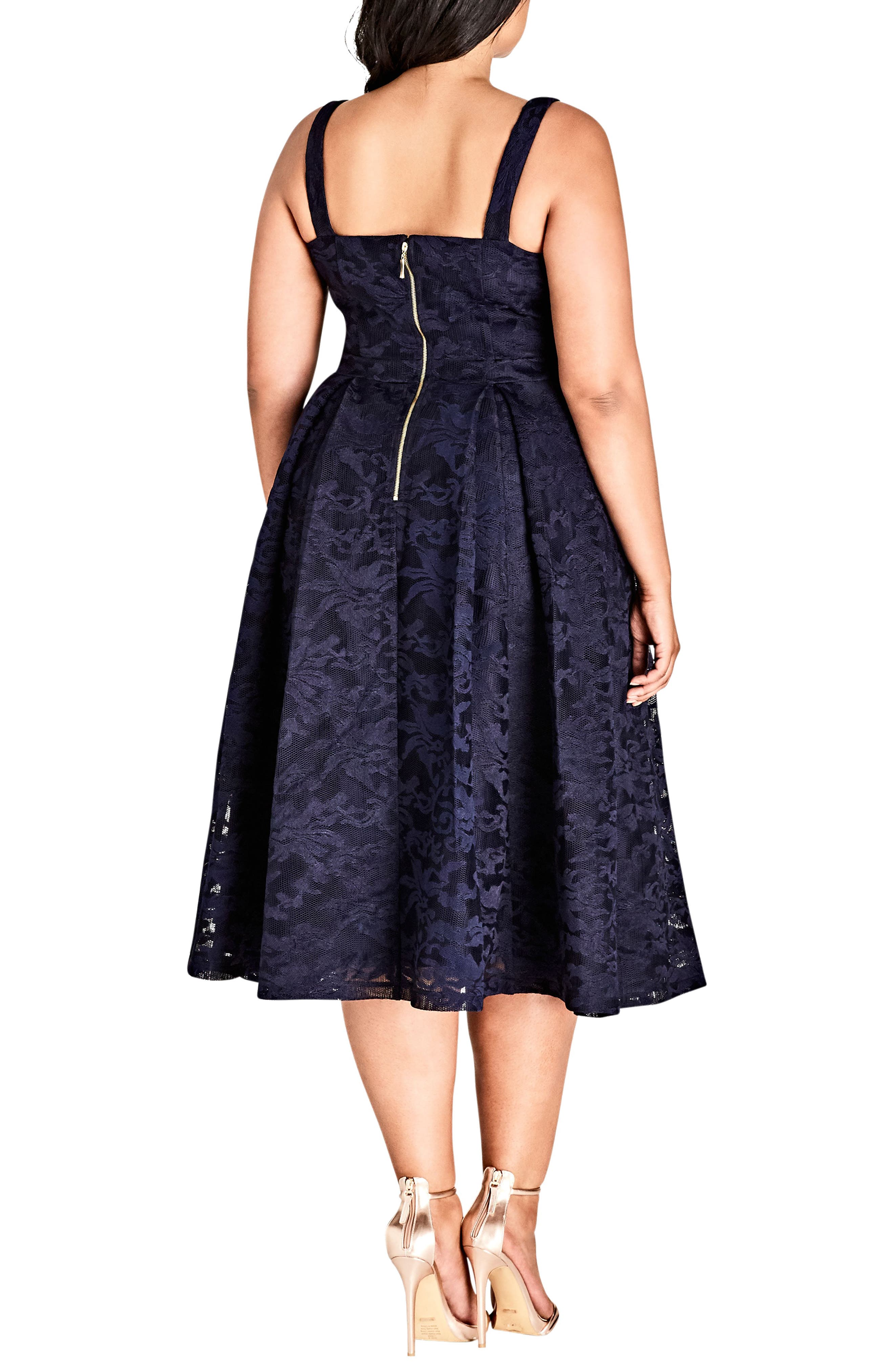 Jackie O Lace Fit & Flare Dress,                             Alternate thumbnail 2, color,                             Navy