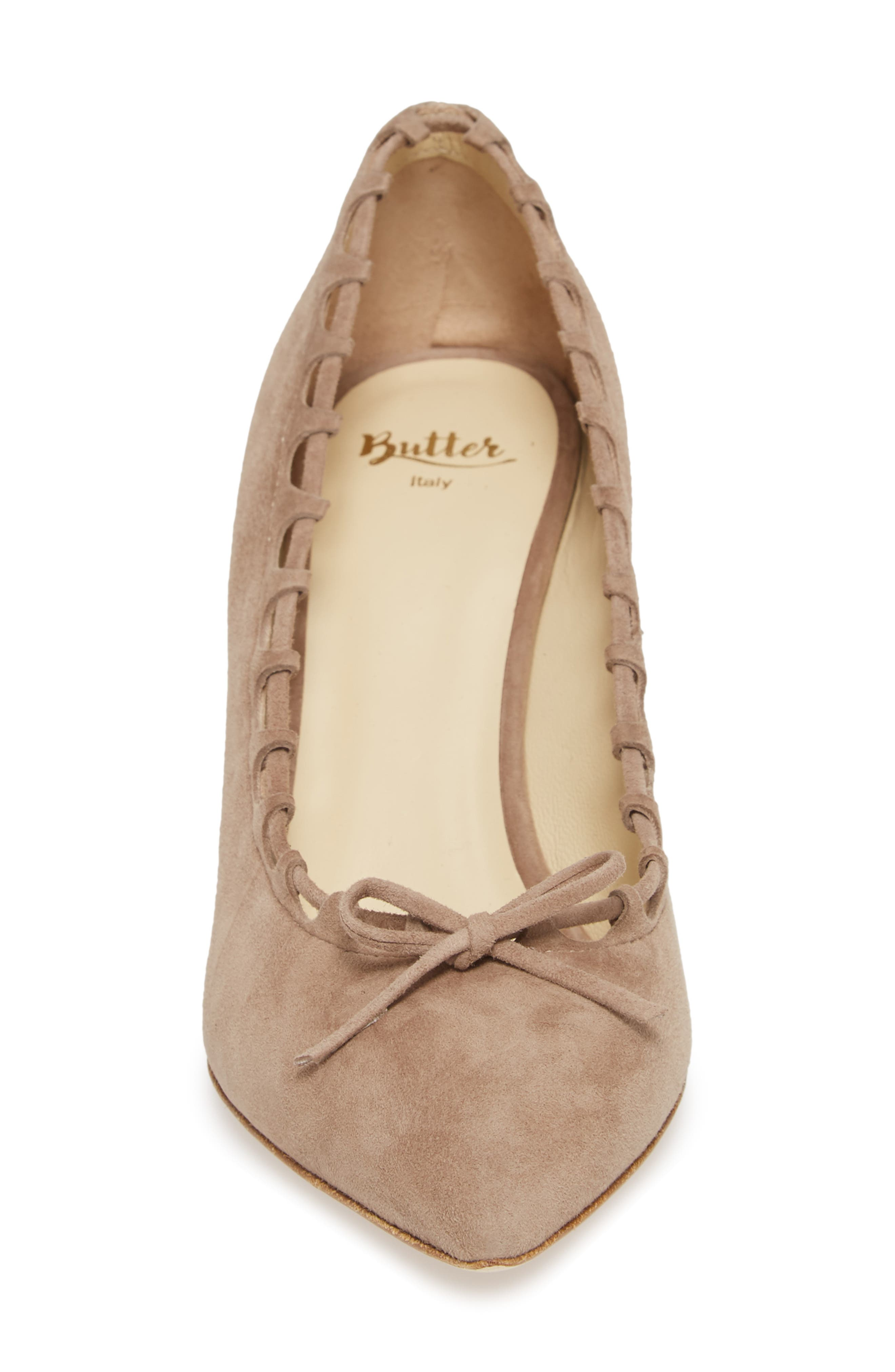 Butter Eris Pointy Toe Pump,                             Alternate thumbnail 3, color,                             Taupe Suede