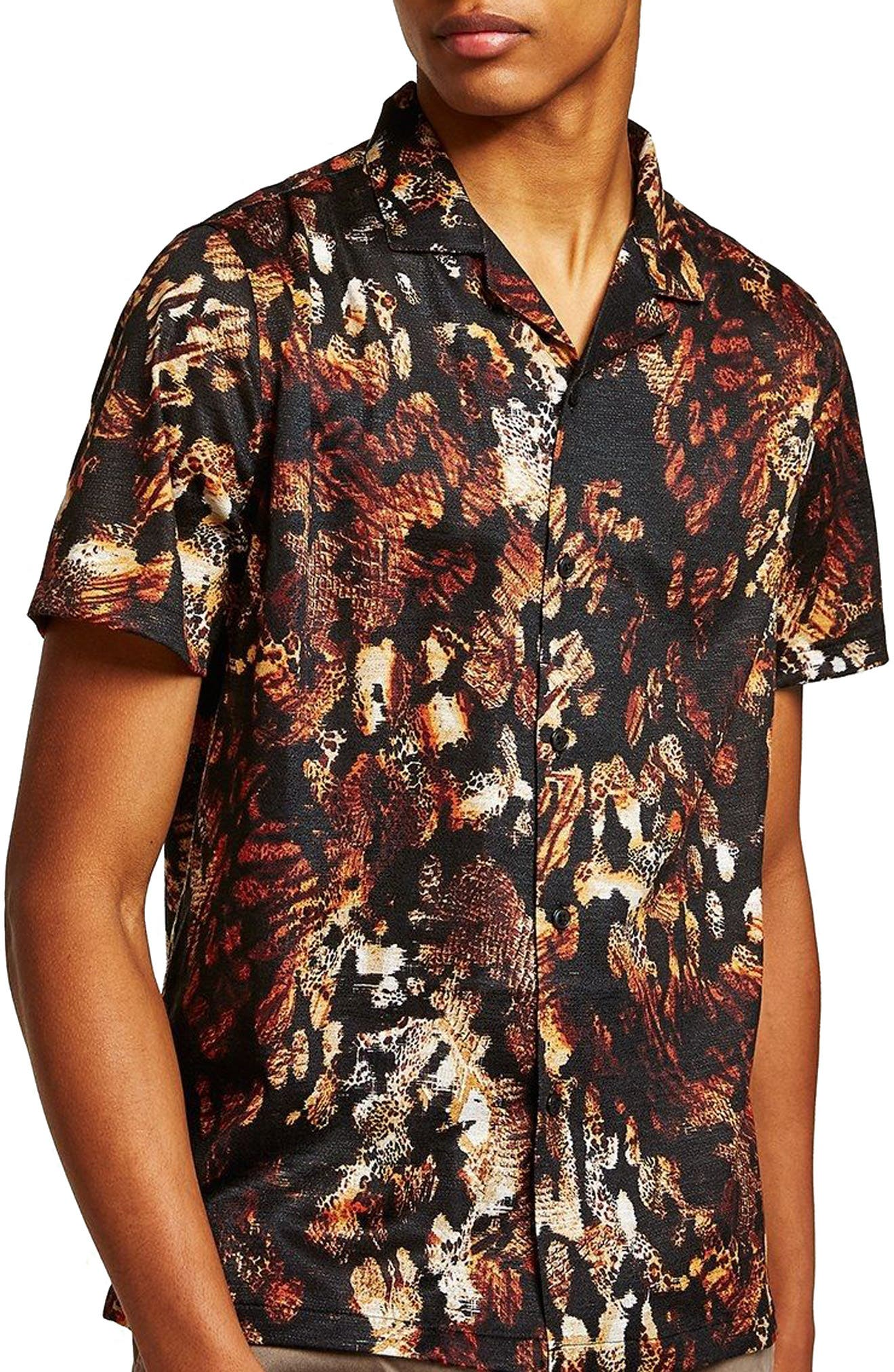 Animal Jacquard Print Camp Shirt,                         Main,                         color, Black Multi