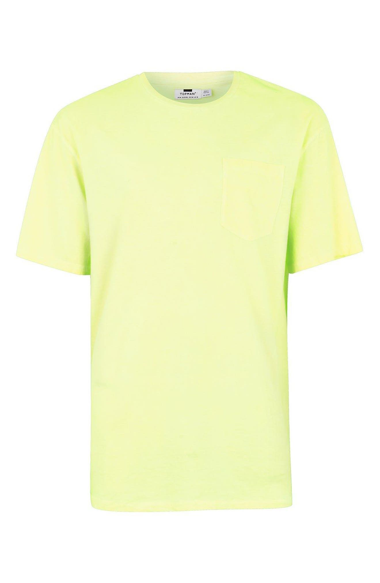 Oversize Acid Wash Pocket T-Shirt,                             Alternate thumbnail 4, color,                             Light Green