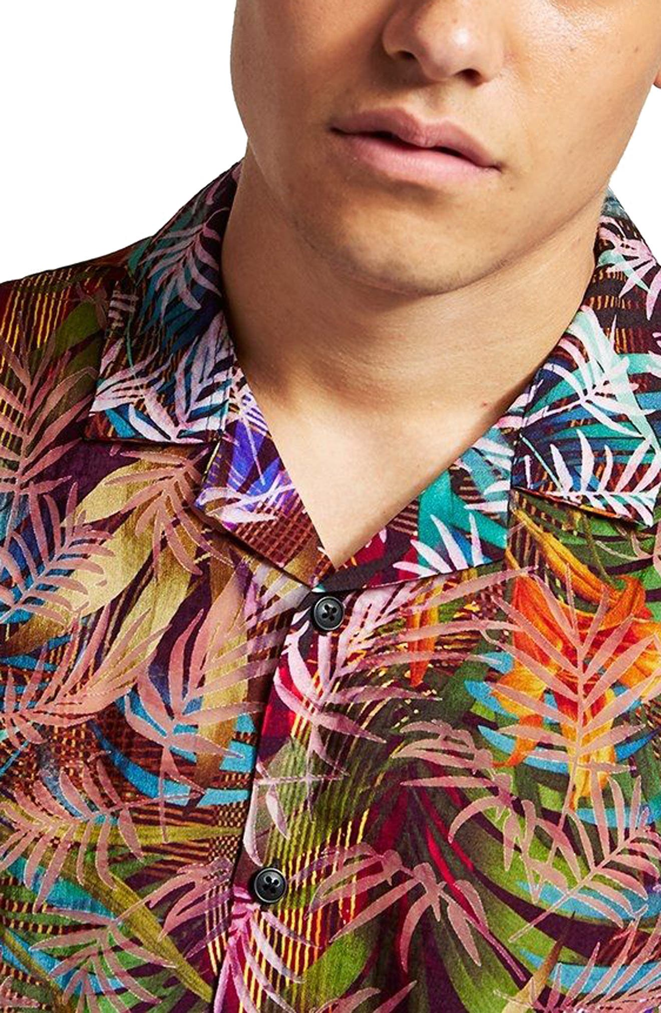 Rainbow Palm Print Shirt,                             Alternate thumbnail 2, color,                             Red Multi