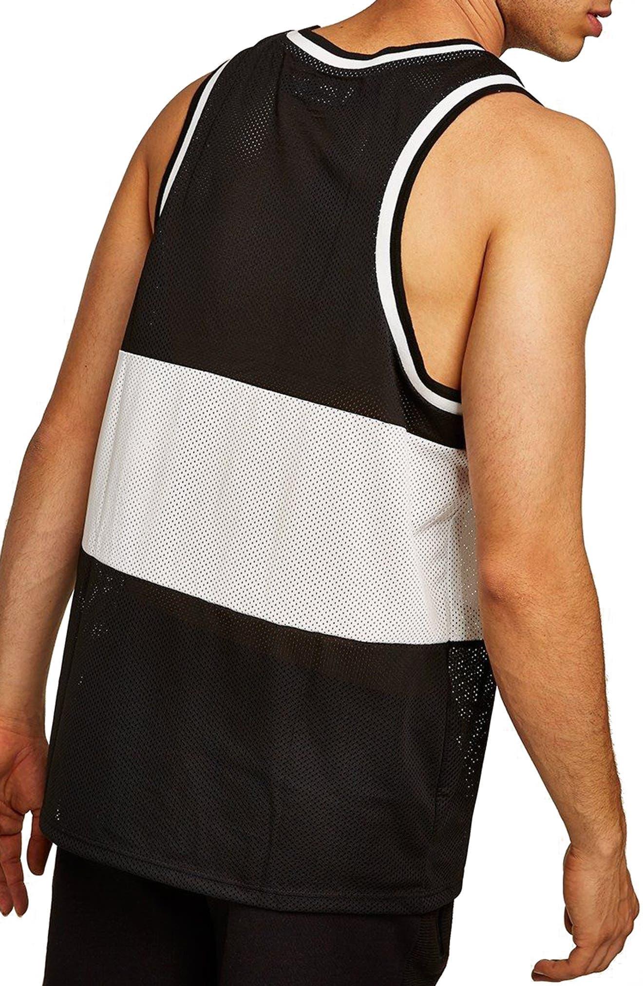 Liam Classic Fit Colorblocked Mesh Tank,                             Alternate thumbnail 2, color,                             Black Multi