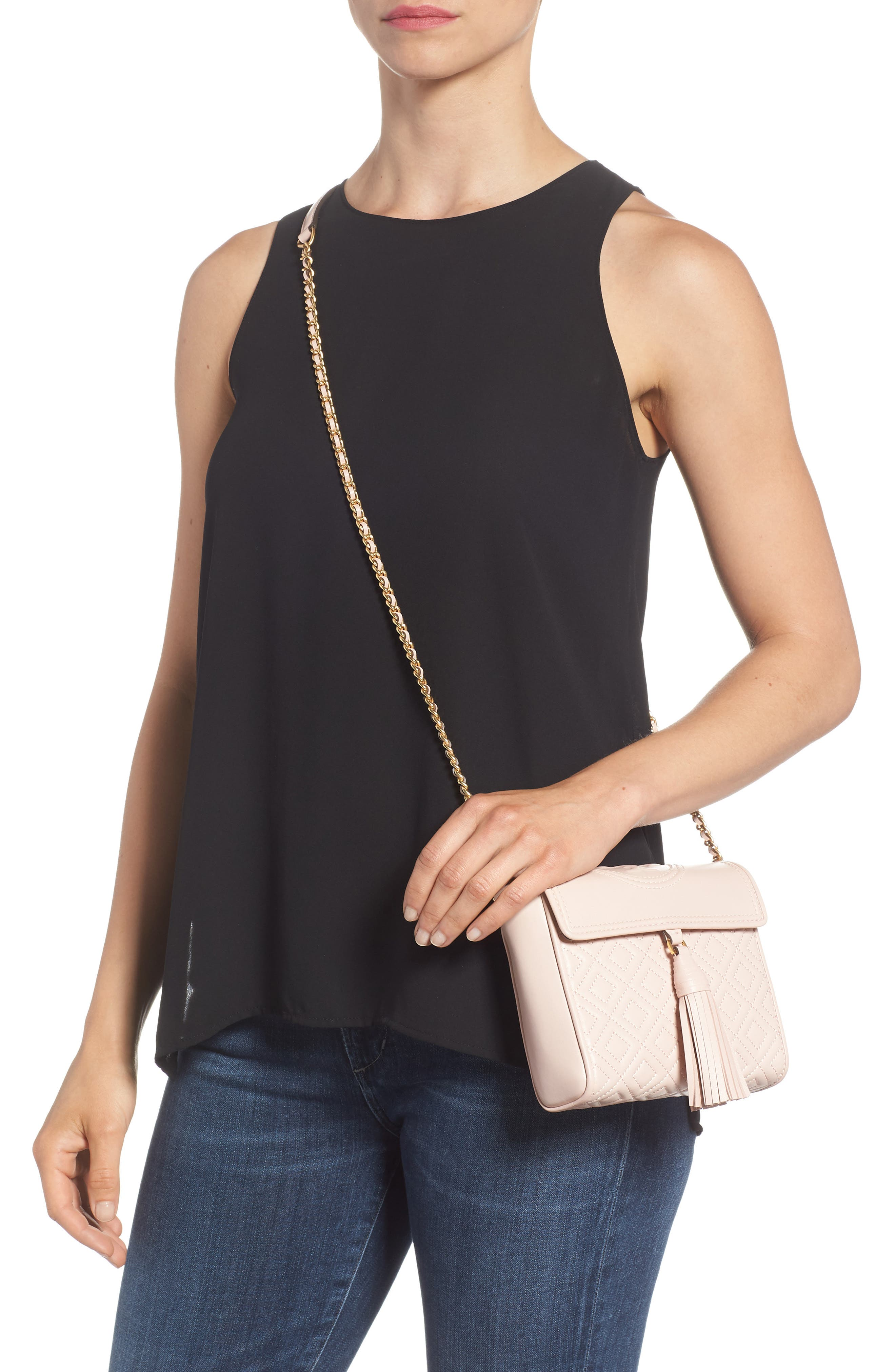 Fleming Quilted Leather Crossbody Bag,                             Alternate thumbnail 3, color,                             Shell Pink