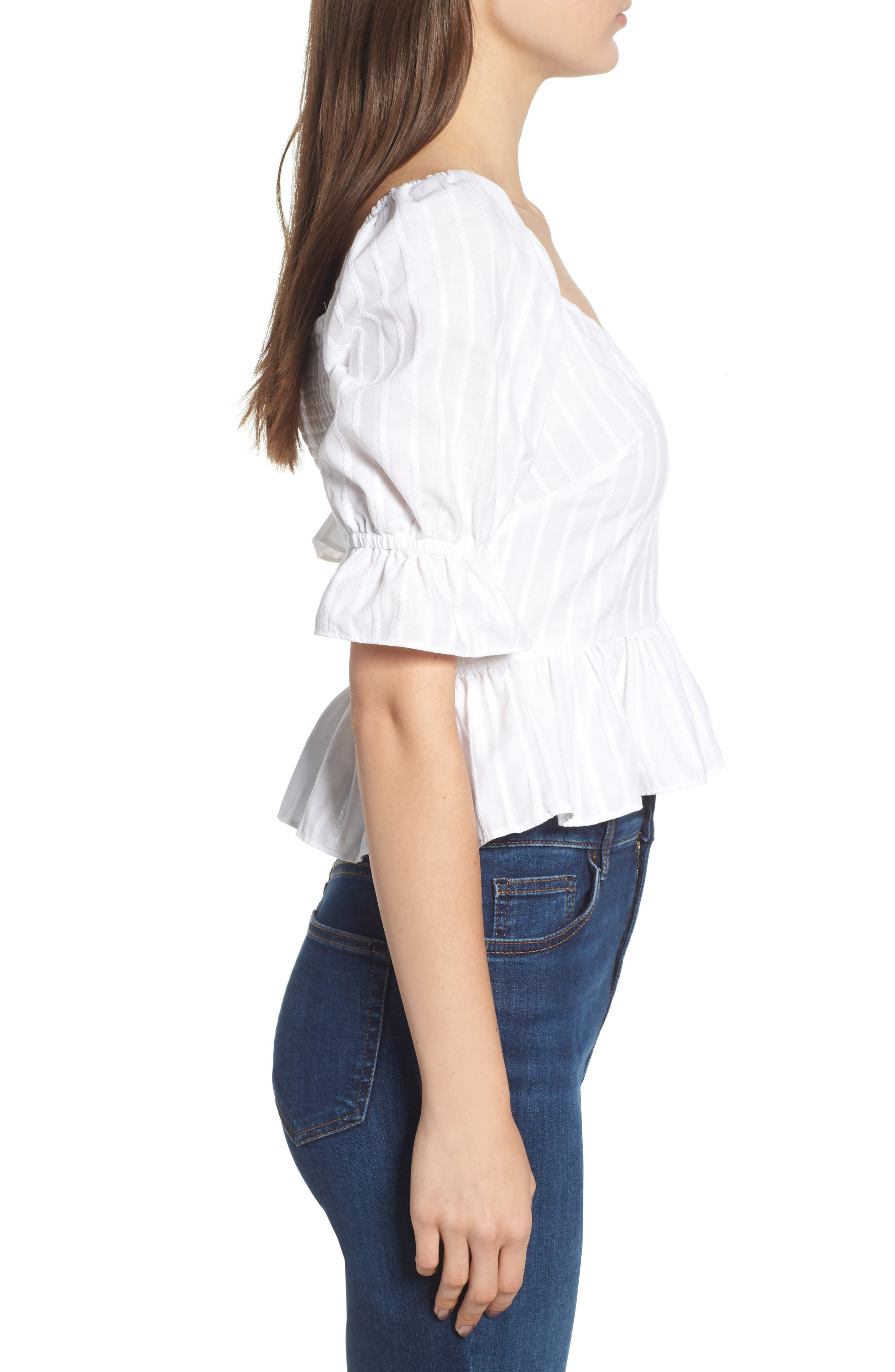 Currency Puff Sleeve Top,                             Alternate thumbnail 4, color,                             White
