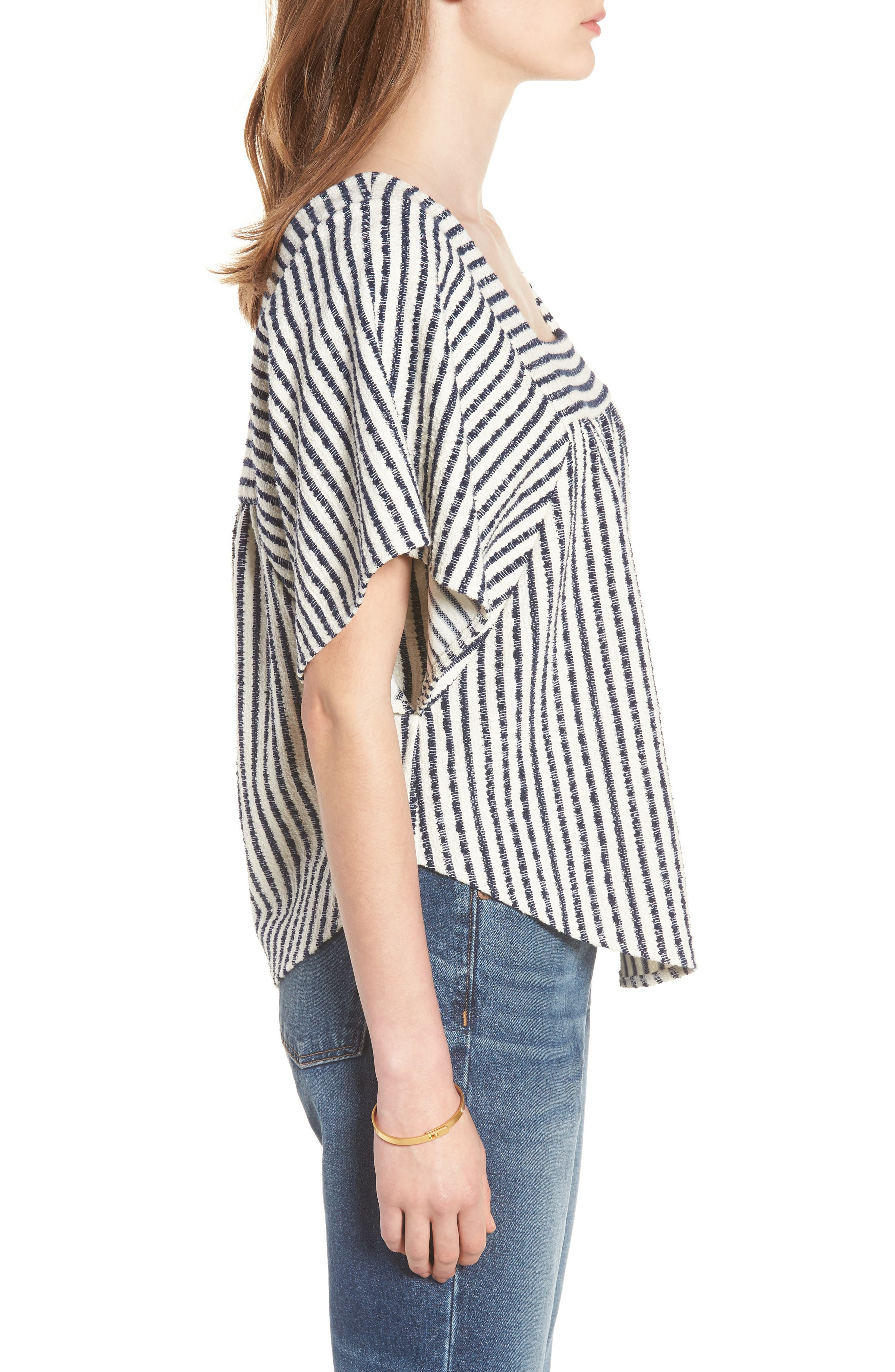 Stripe Butterfly Top,                             Alternate thumbnail 3, color,                             Bright Ivory