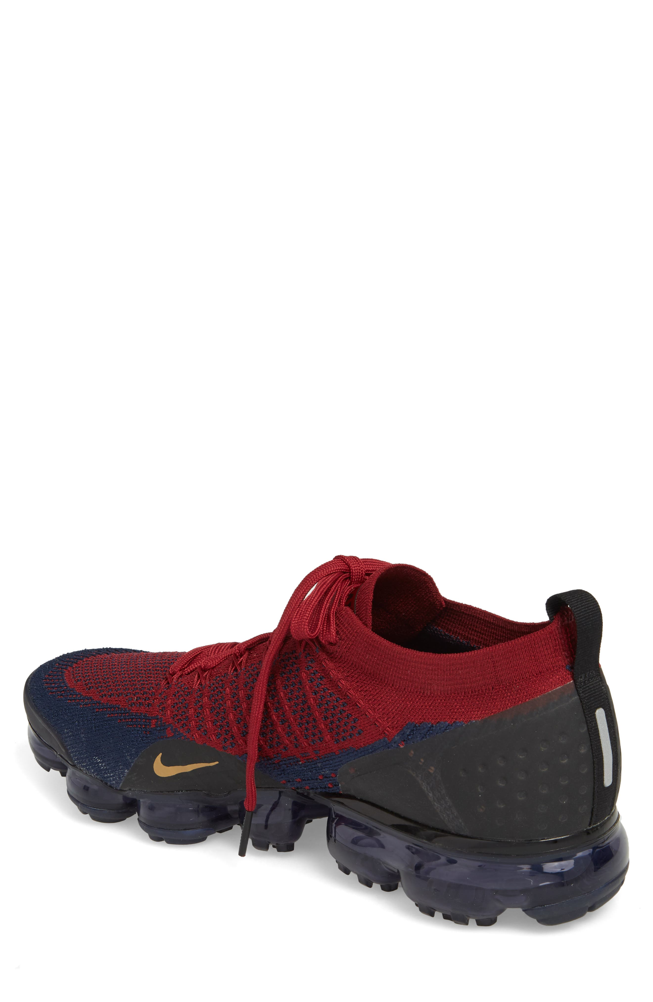 Air Vapormax Flyknit 2 Running Shoe,                             Alternate thumbnail 2, color,                             Team Red/ Wheat/ Obsidian