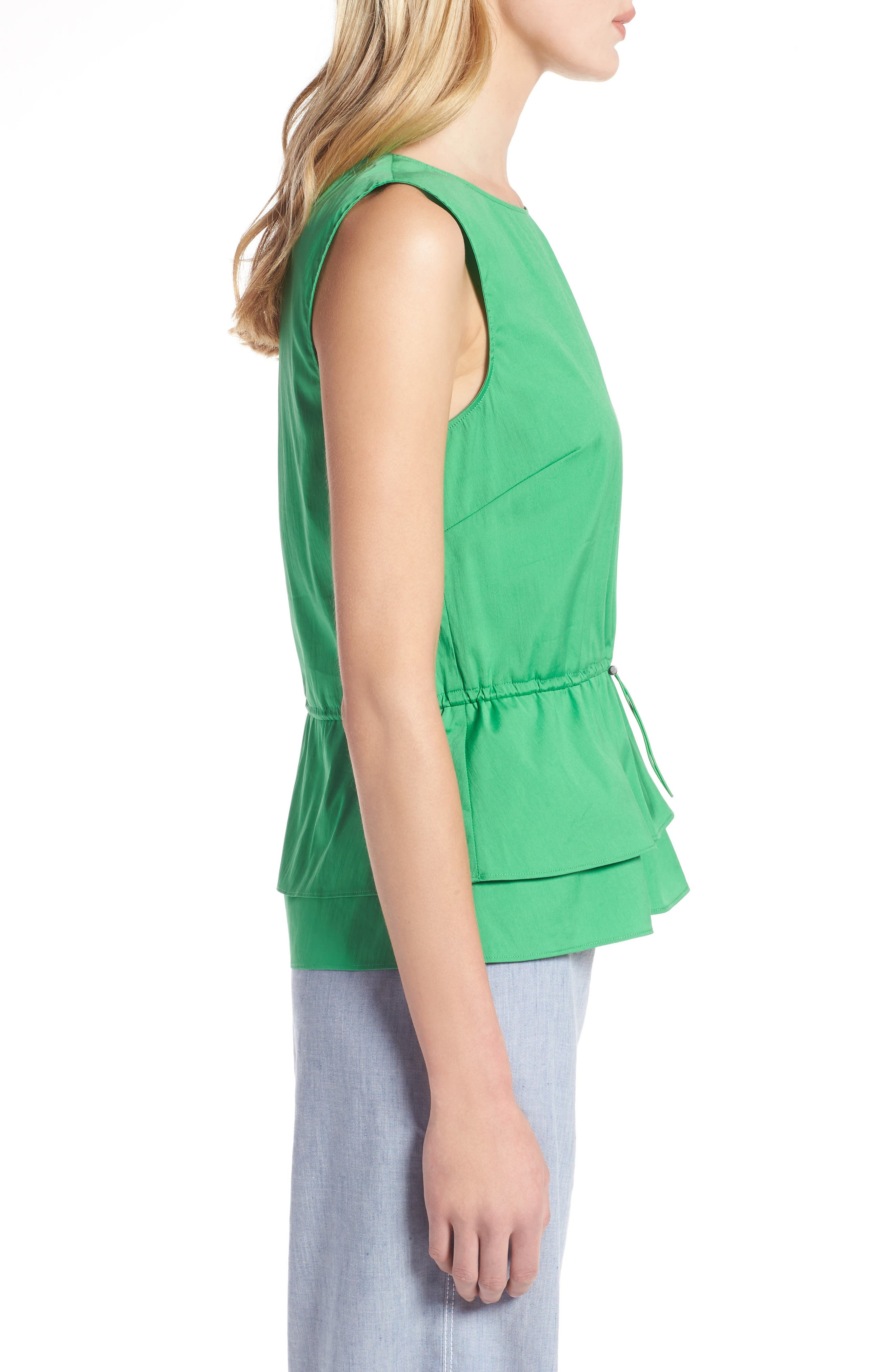 Stretch Cotton Blend Peplum Top,                             Alternate thumbnail 3, color,                             Green Kelly