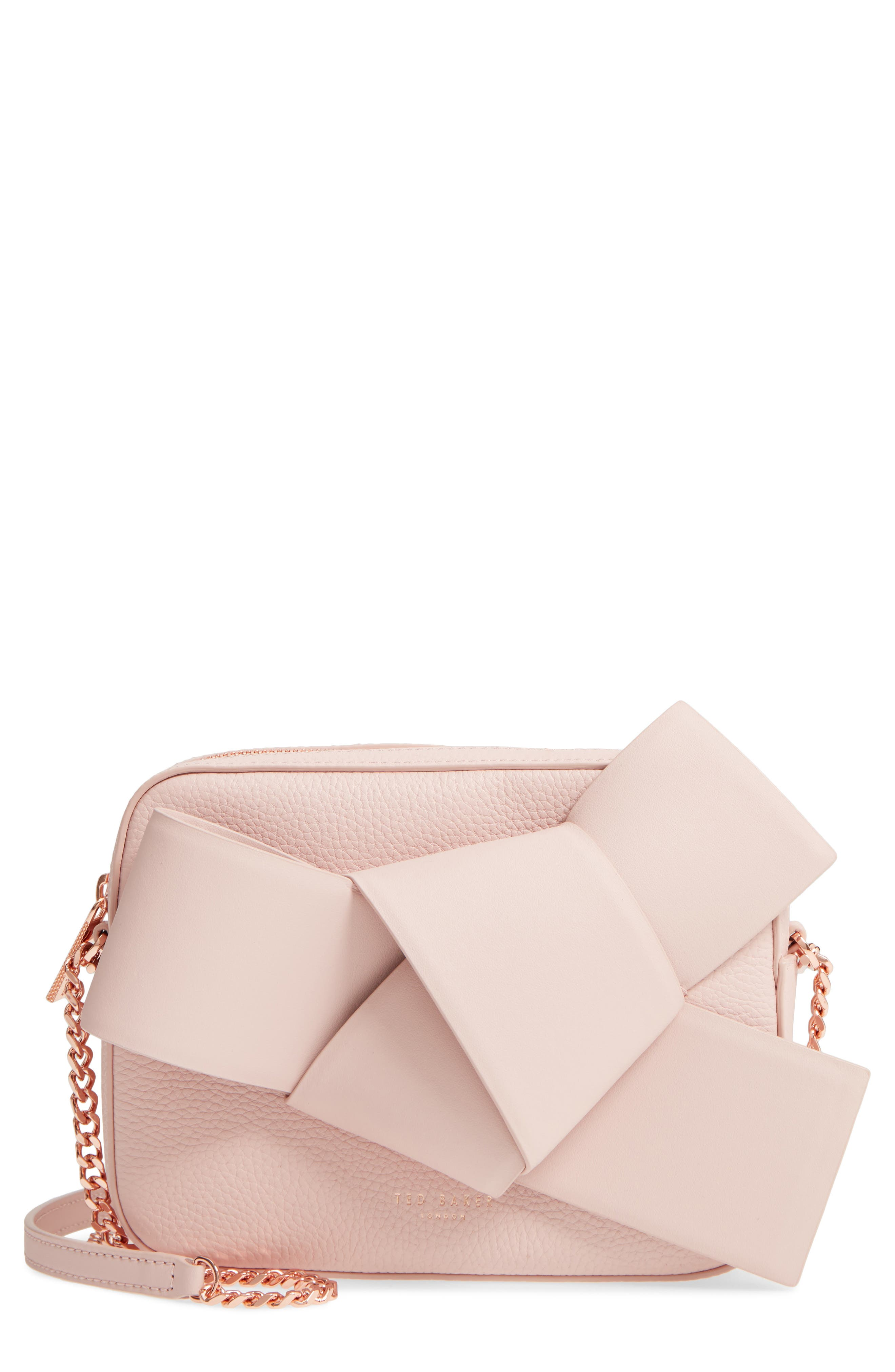 Giant Knot Leather Camera Bag,                             Main thumbnail 1, color,                             Nude Pink