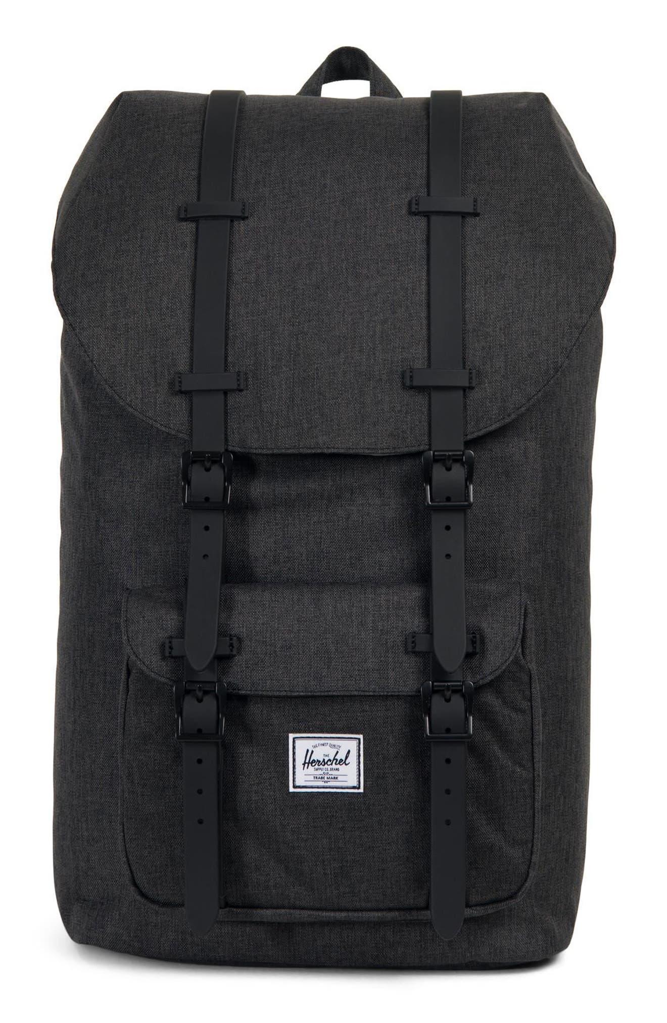 HERSCHEL SUPPLY CO. Little America Backpack - Black in Black Crosshatch/ Black Rubber