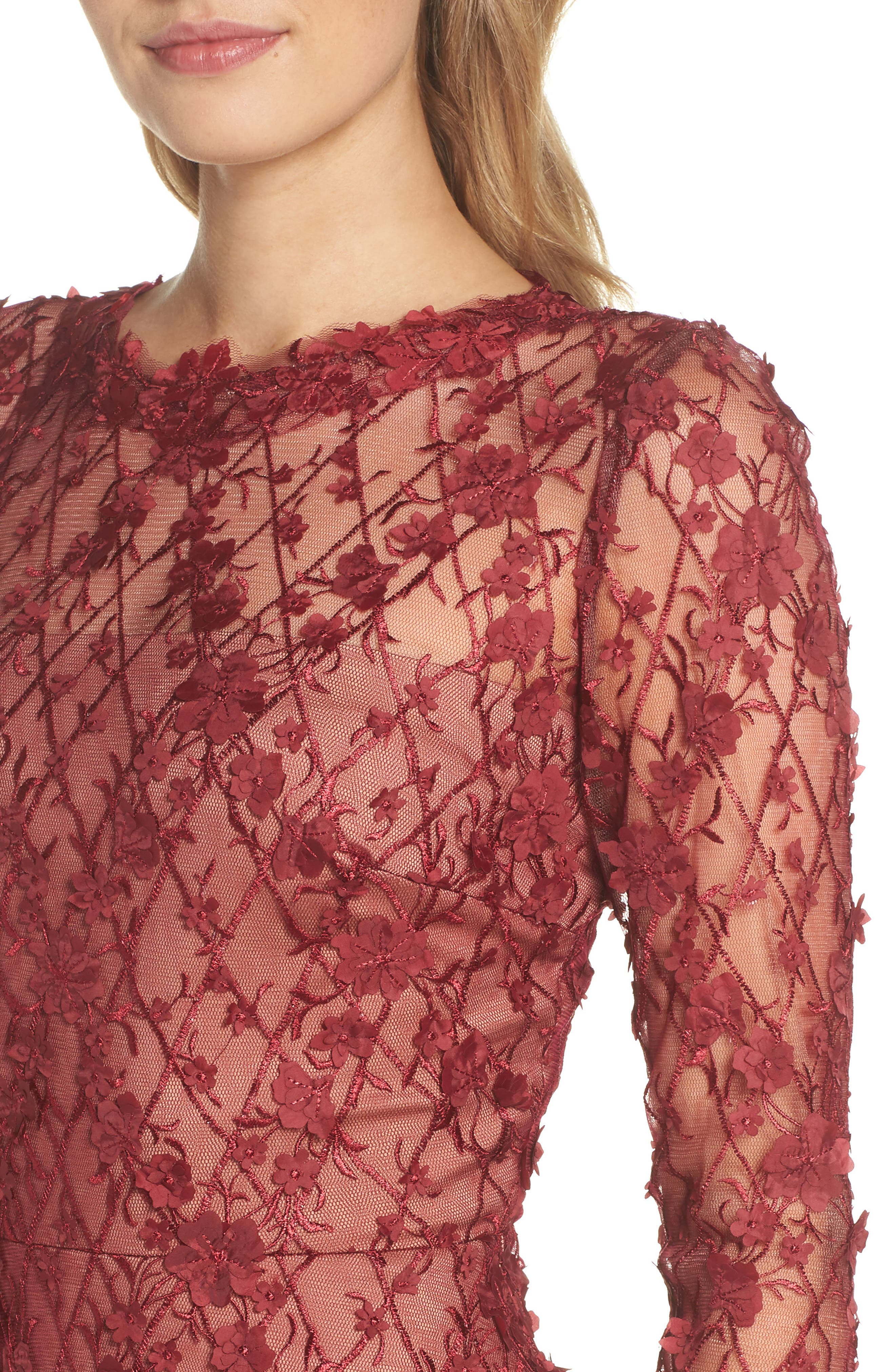 3D Flowers Lace Dress,                             Alternate thumbnail 4, color,                             Rosewood/ Nude