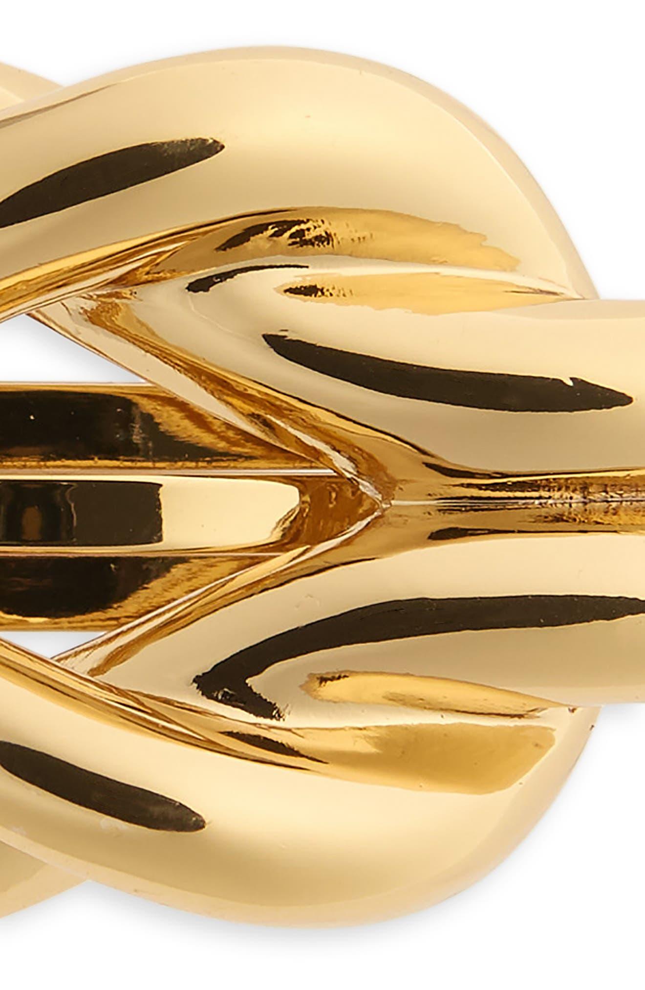 Nautical Knot Metal Barrette,                             Alternate thumbnail 3, color,                             Gold