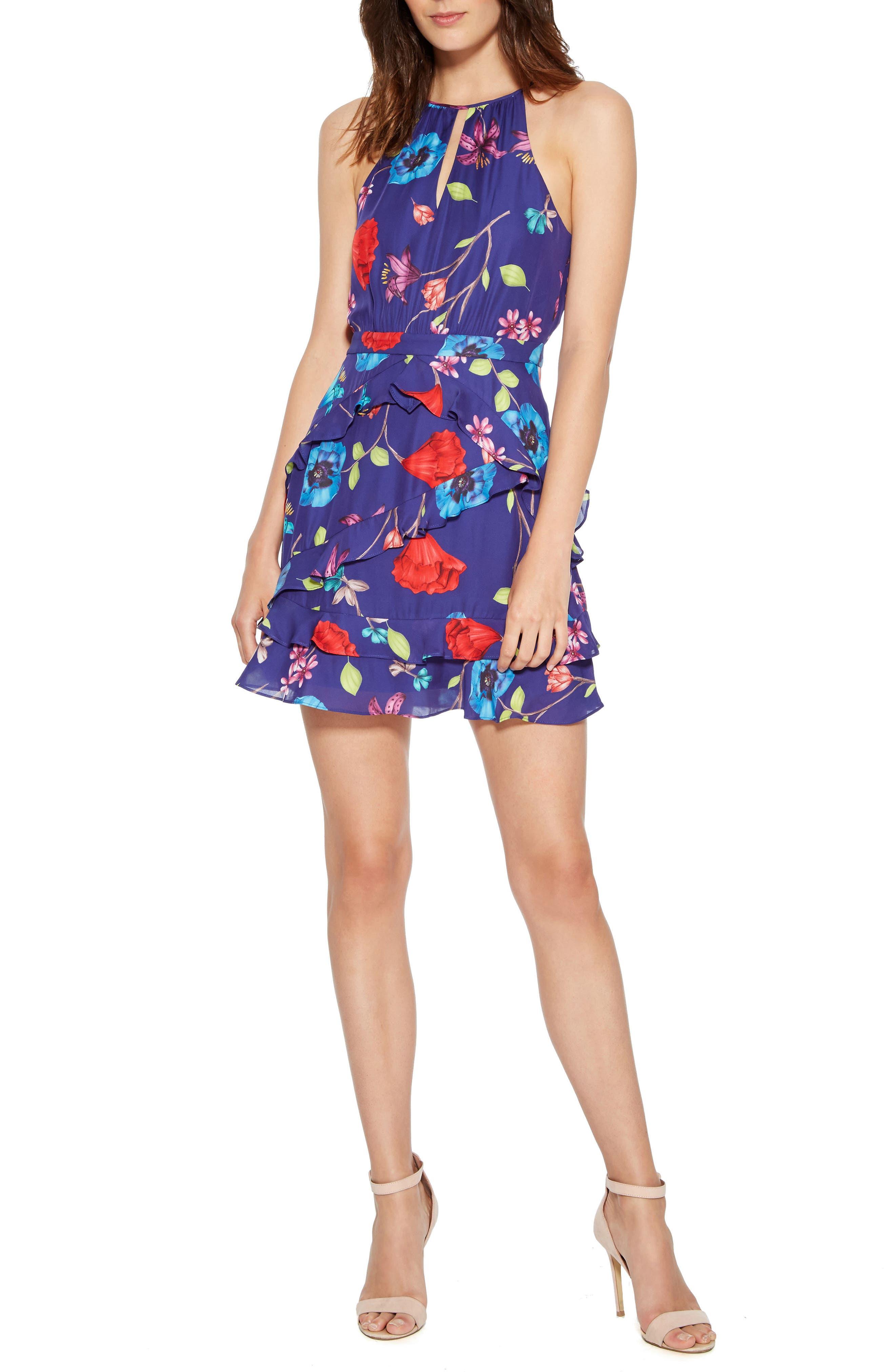 Pixie Silk Blend Halter Dress, Valencia Eclipse