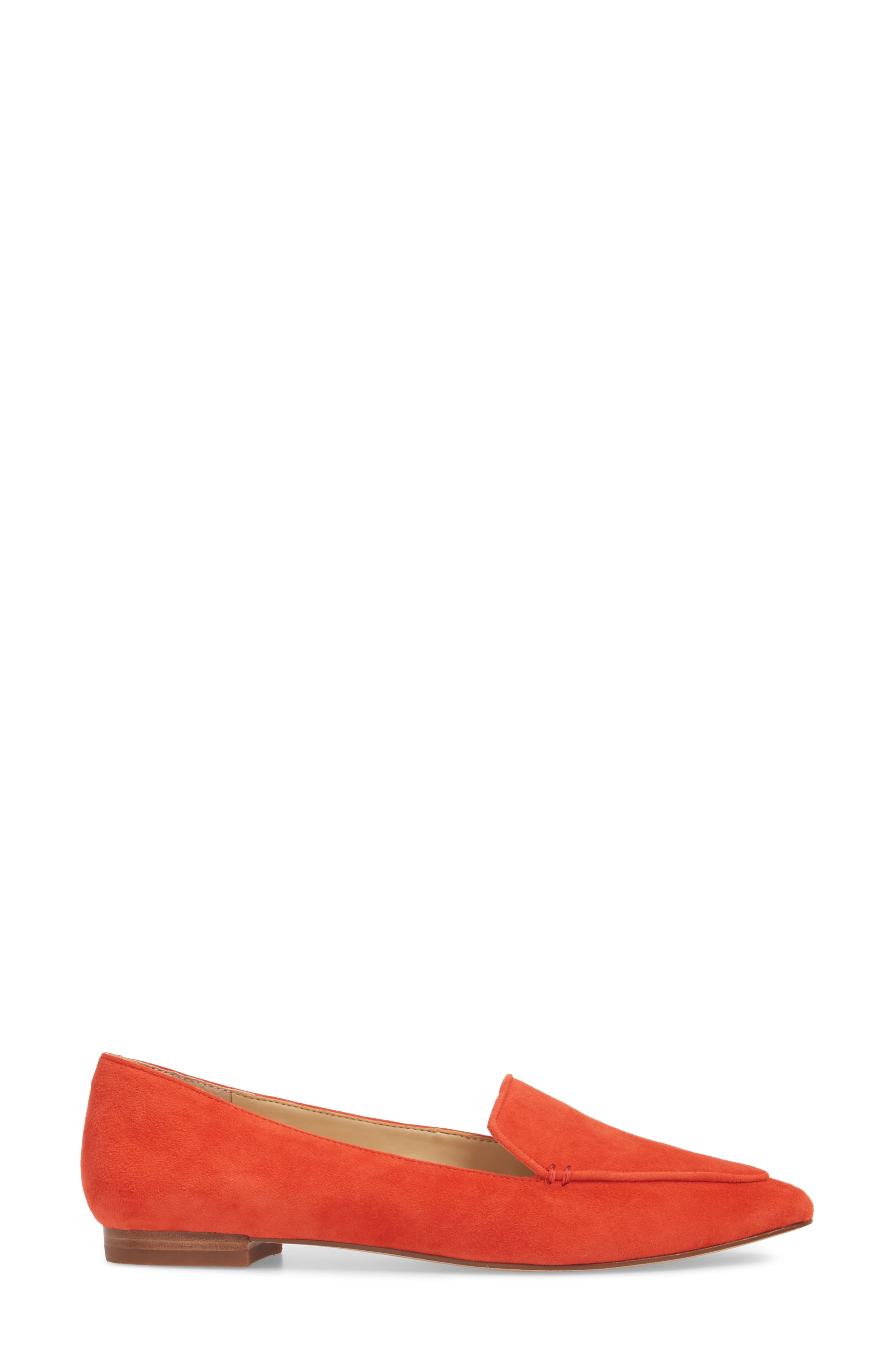'Cammila' Pointy Toe Loafer,                             Alternate thumbnail 3, color,                             Deep Coral