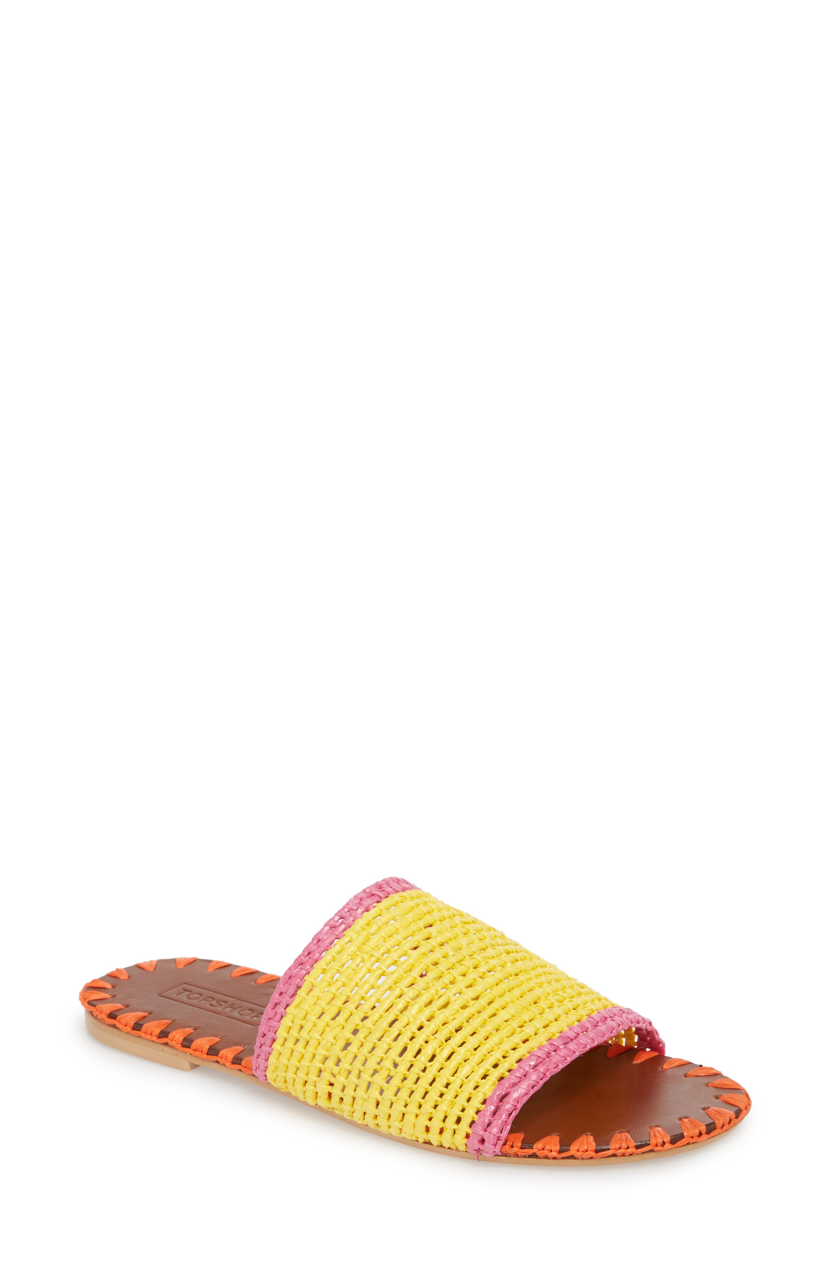 Fresh Woven Slide Sandal,                             Main thumbnail 1, color,                             Yellow Multi