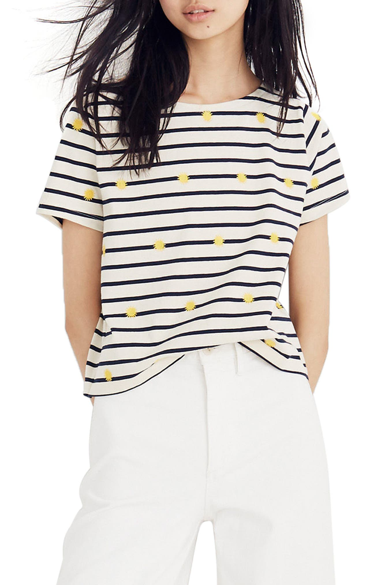 Embroidered Sun Stripe Tee,                         Main,                         color, Celestial Gold