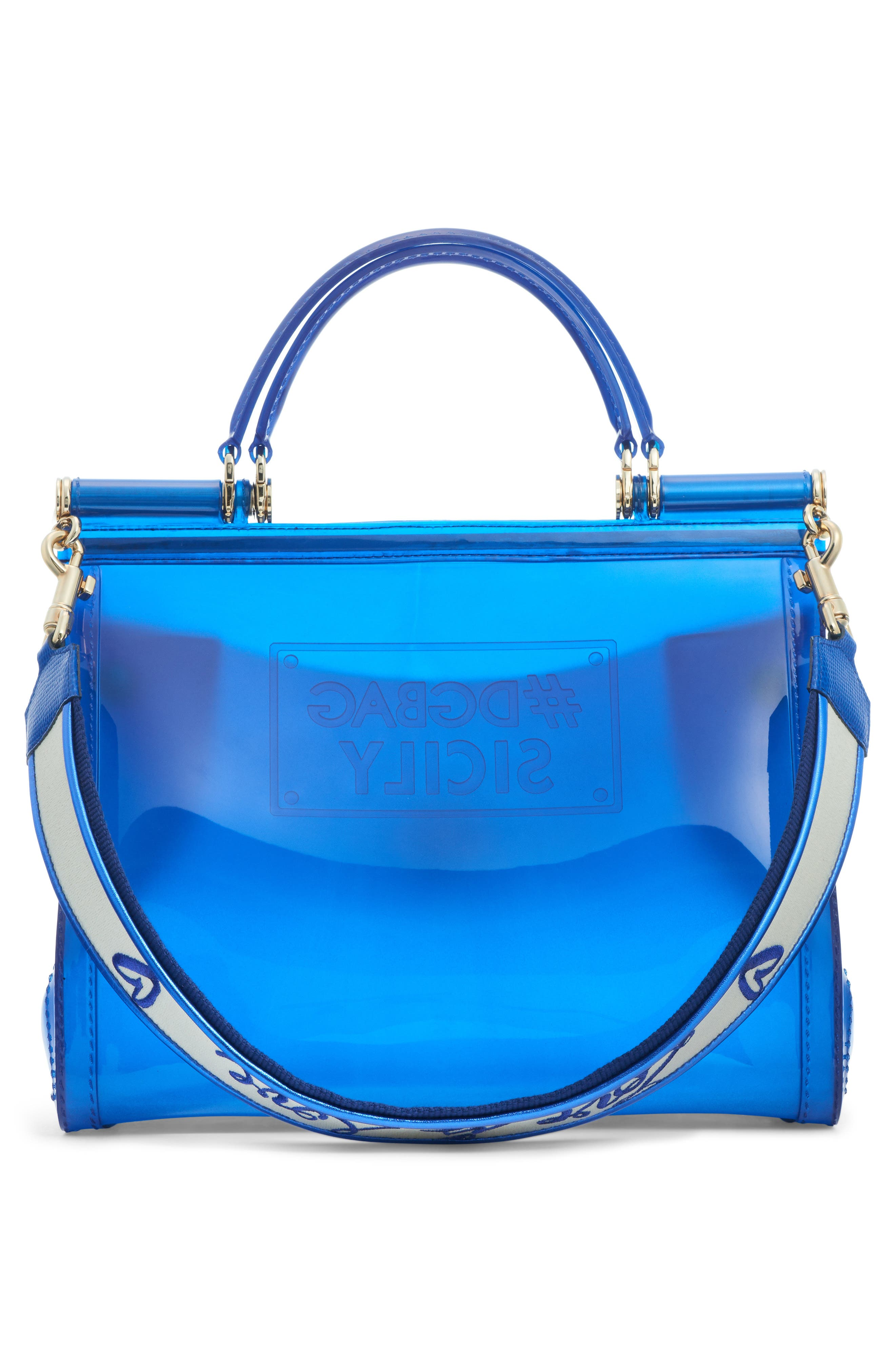 Medium Miss Sicily PVC Satchel,                             Alternate thumbnail 3, color,                             Blue Multi