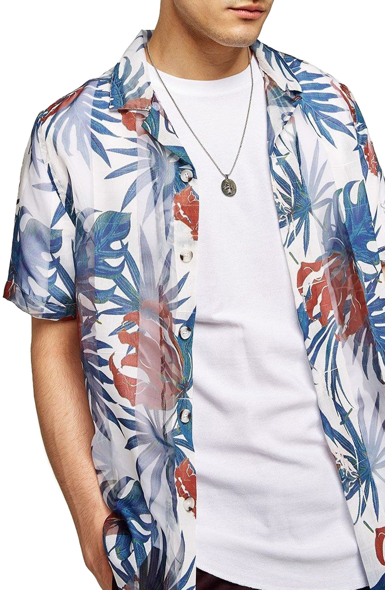 Palm Print Shirt,                         Main,                         color, White Multi