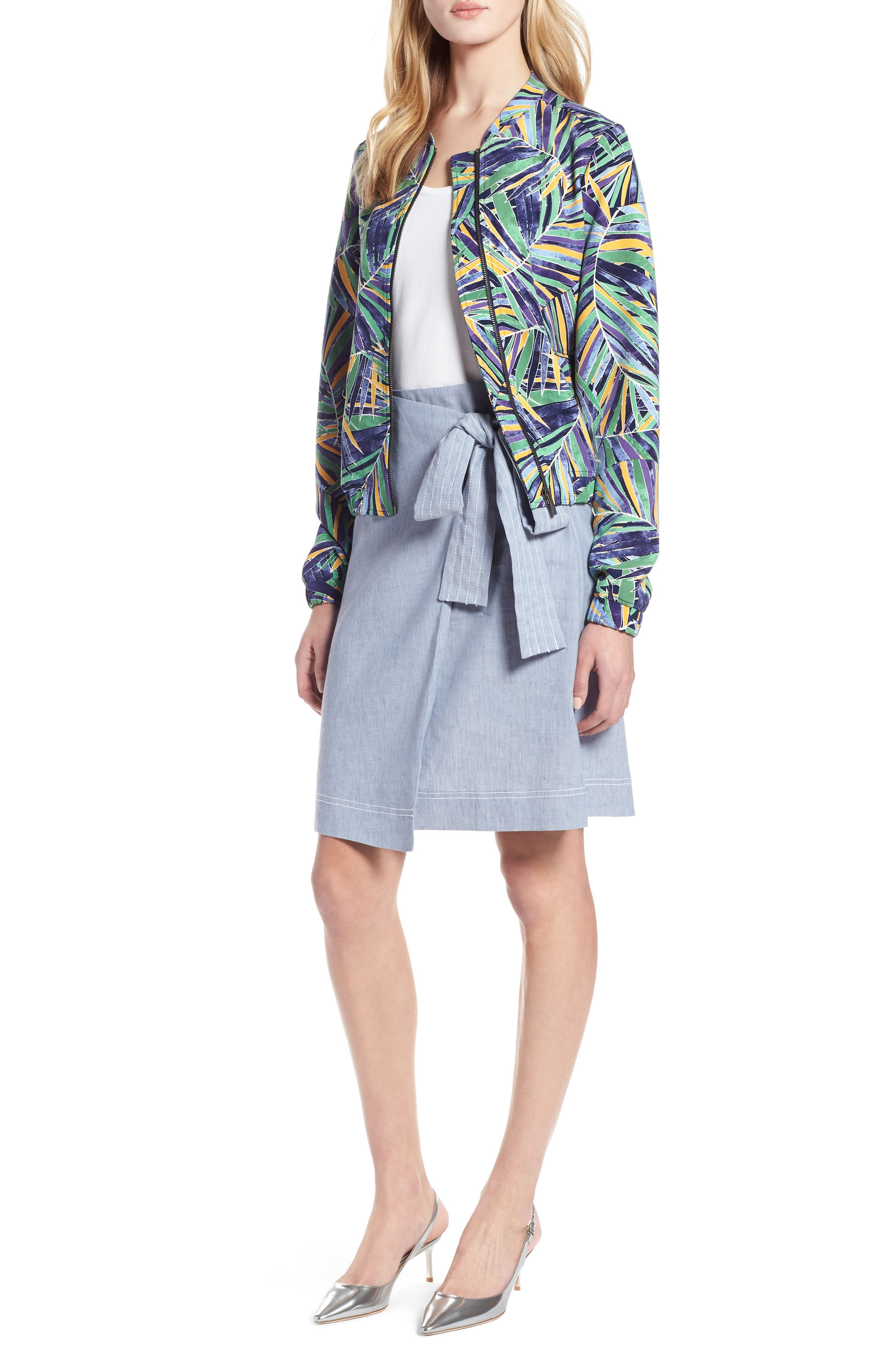 Drawstring Jacket,                         Main,                         color, Green- Blue Palm Print