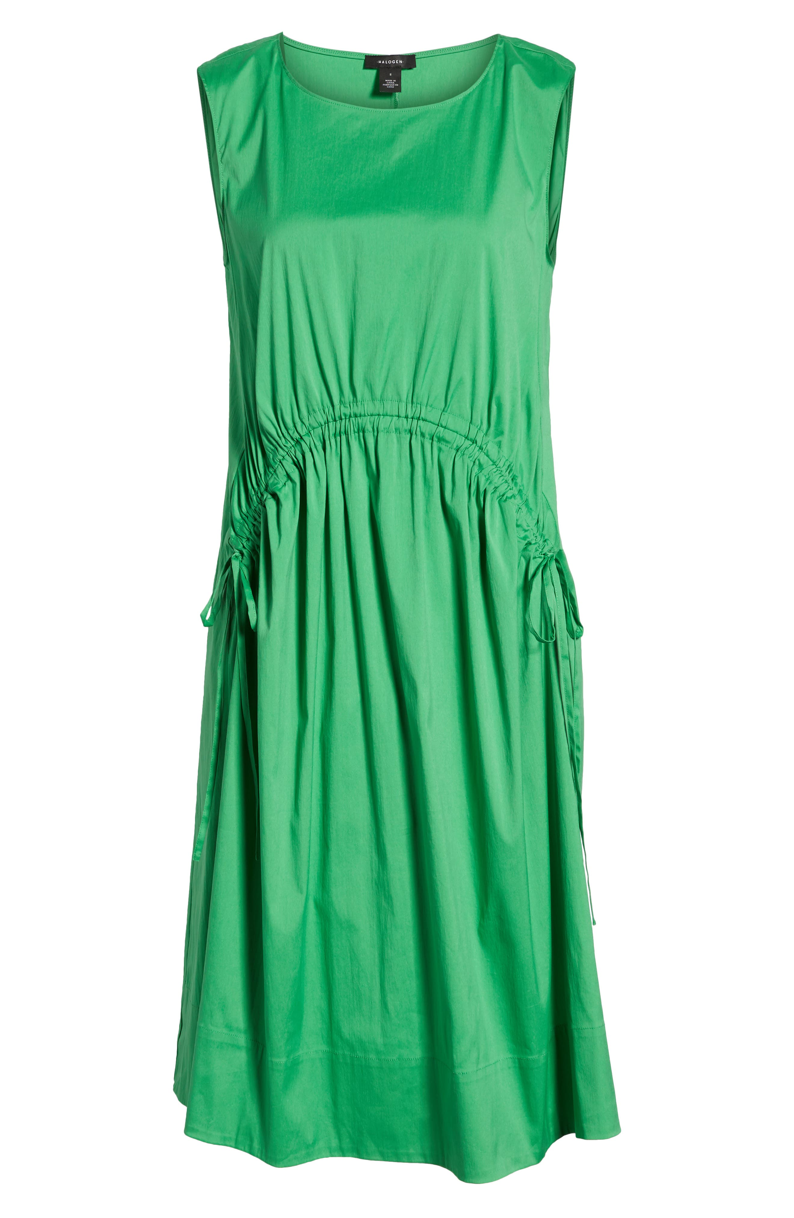 Drawcord Stretch Cotton Blend Dress,                             Alternate thumbnail 7, color,                             Green Kelly