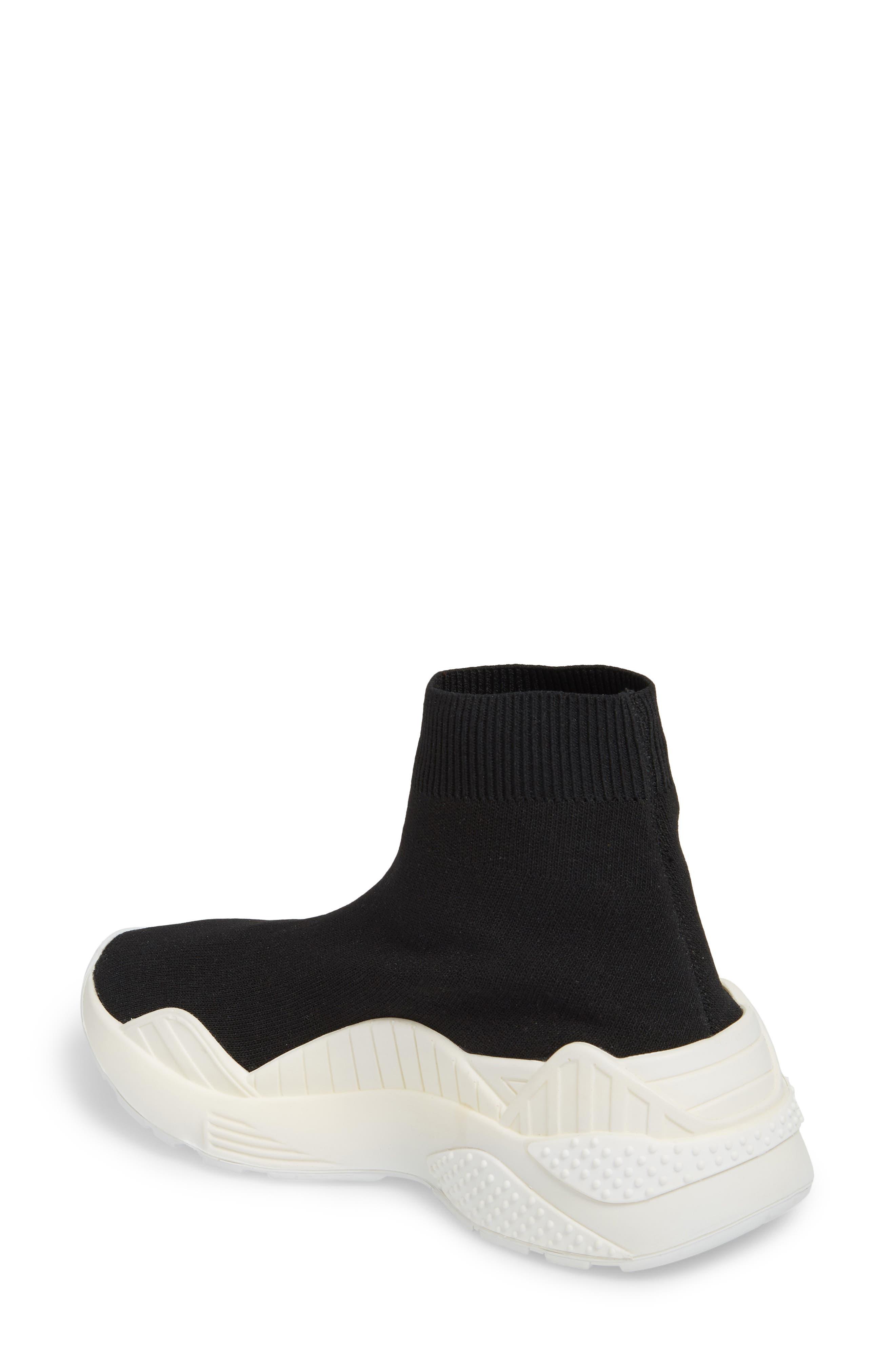 Lunix Sock Sneaker,                             Alternate thumbnail 2, color,                             Black/ White Leather