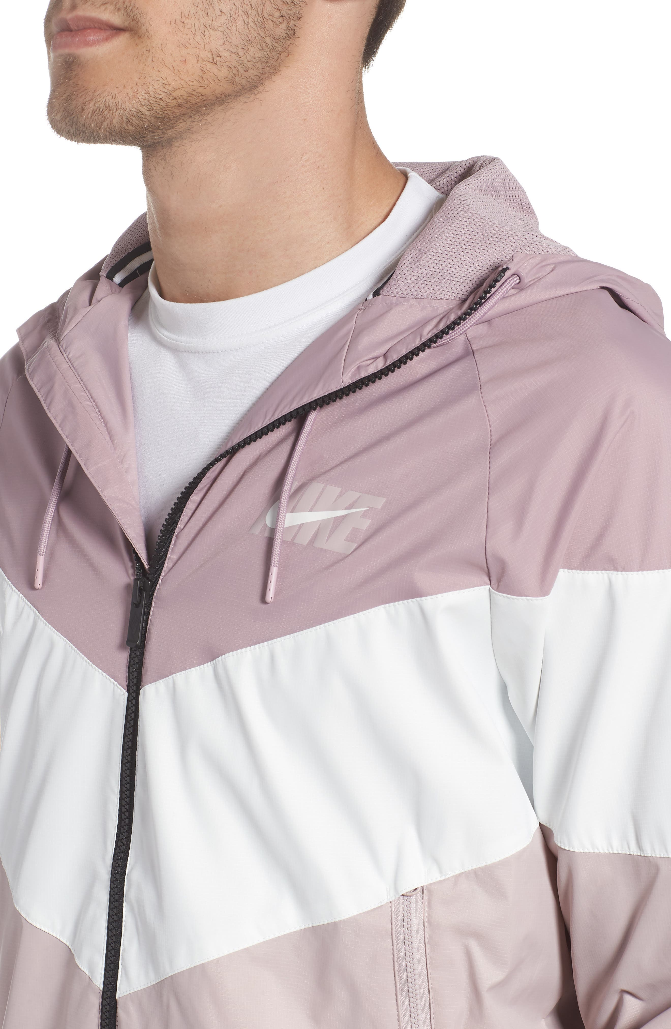 Windrunner Wind & Water Repellent Hooded Jacket,                             Alternate thumbnail 4, color,                             Elemental Rose/ Summit White