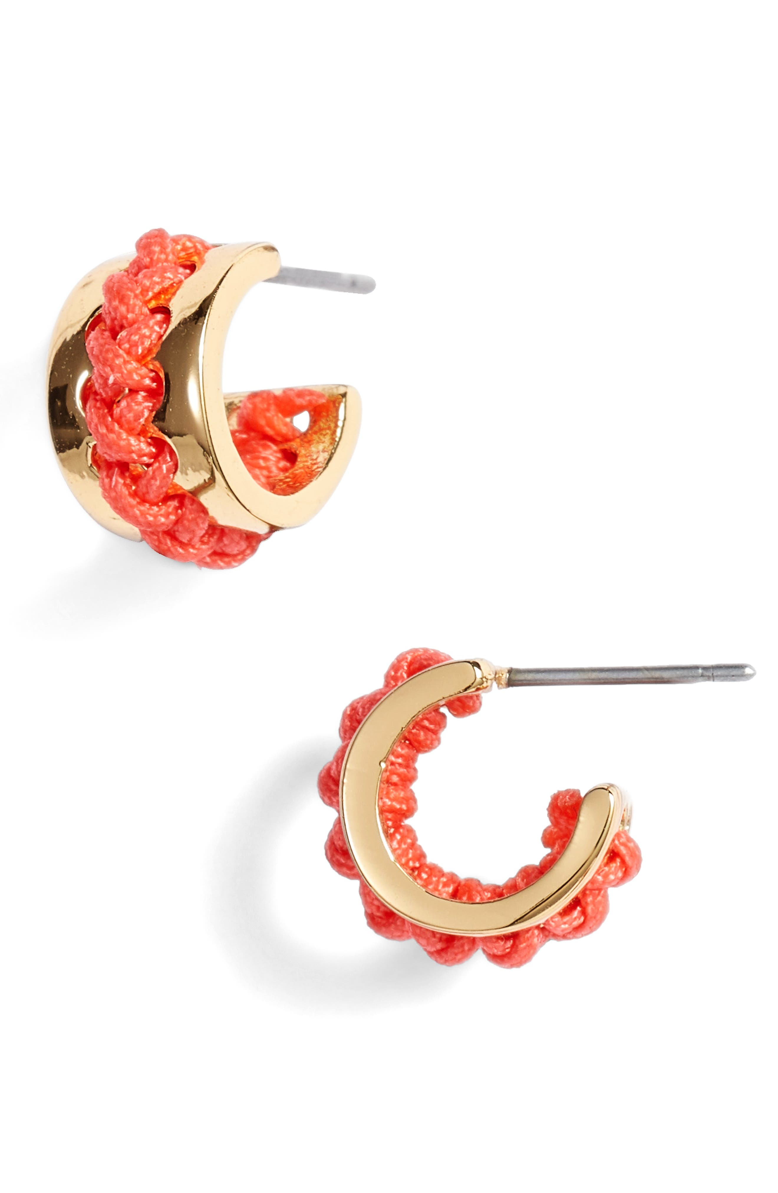 wrap it up partial hoop earrings,                             Main thumbnail 1, color,                             Coral