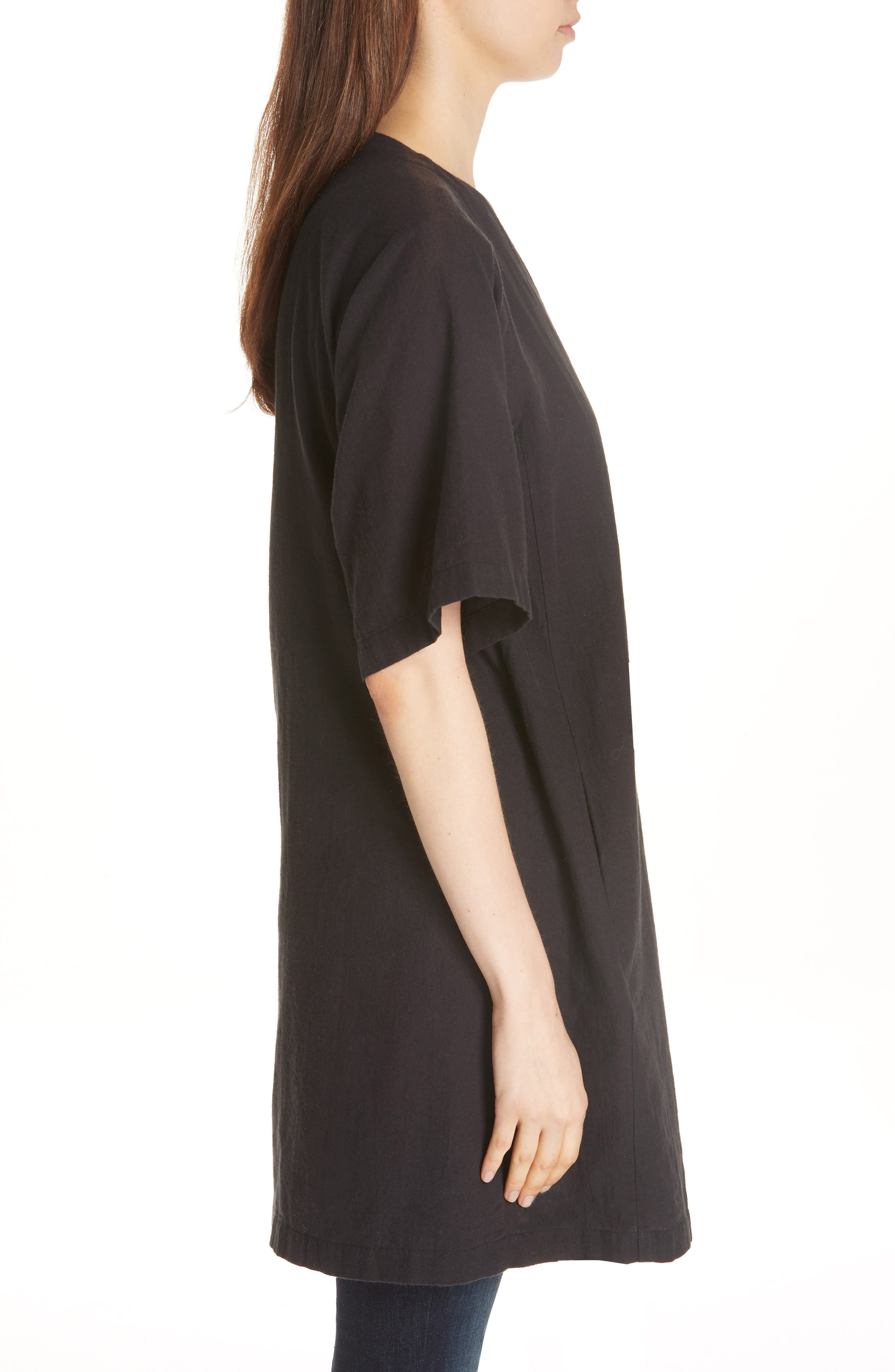 Kimono Sleeve Organic Cotton Blend Jacket,                             Alternate thumbnail 5, color,                             Black