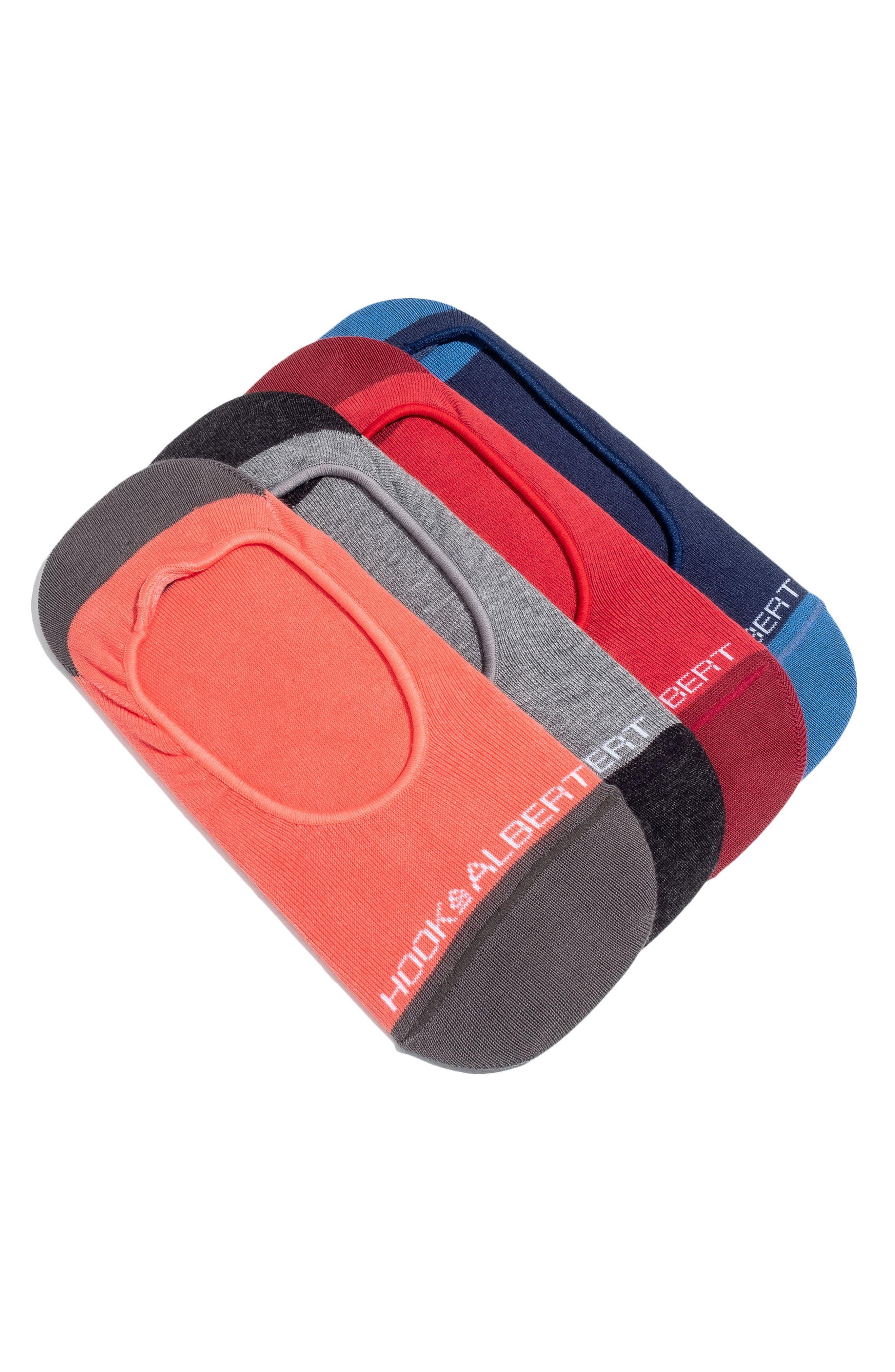 4-Pack Liner Socks,                             Main thumbnail 1, color,                             Red
