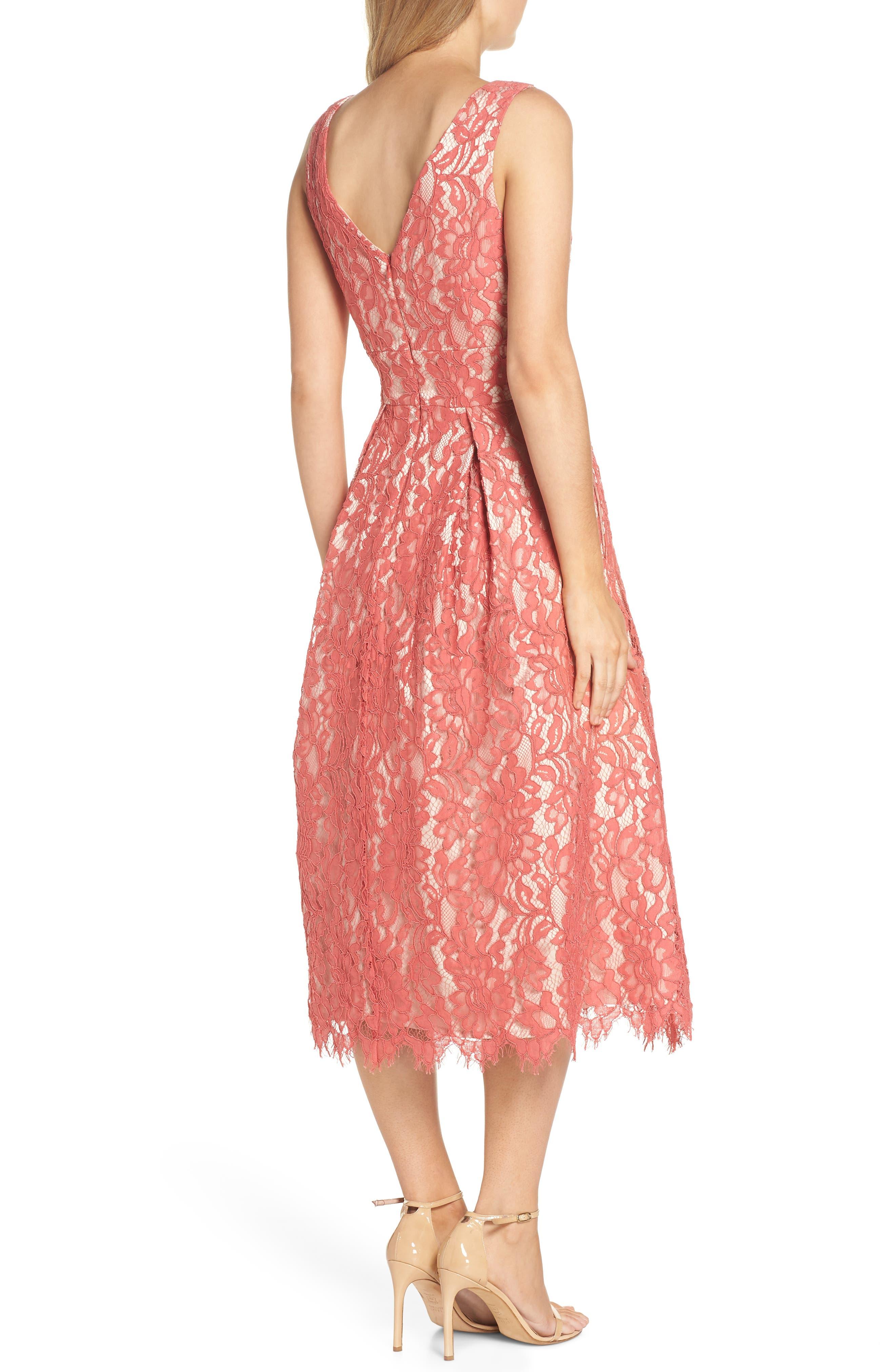 V-Neck Lace Midi Dress,                             Alternate thumbnail 2, color,                             Rose