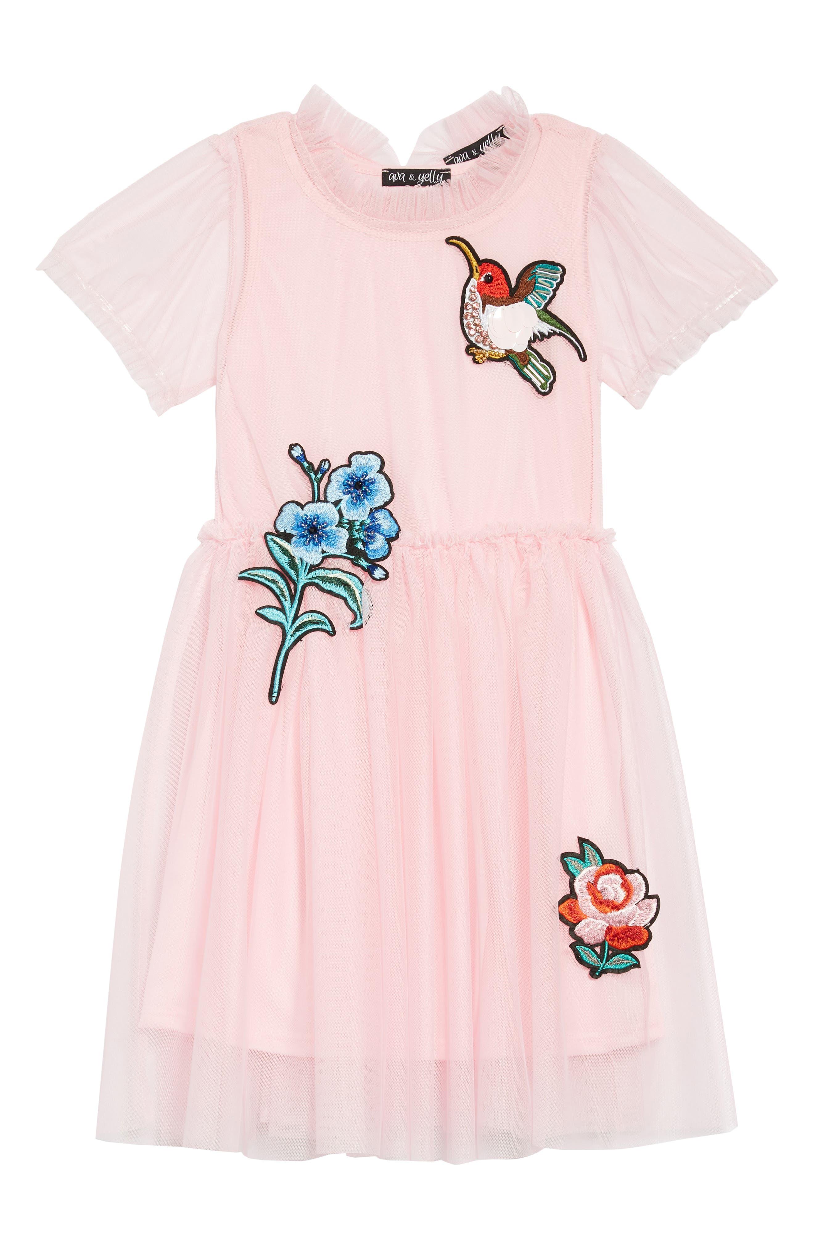 Embellished Tulle Dress,                         Main,                         color, Pink
